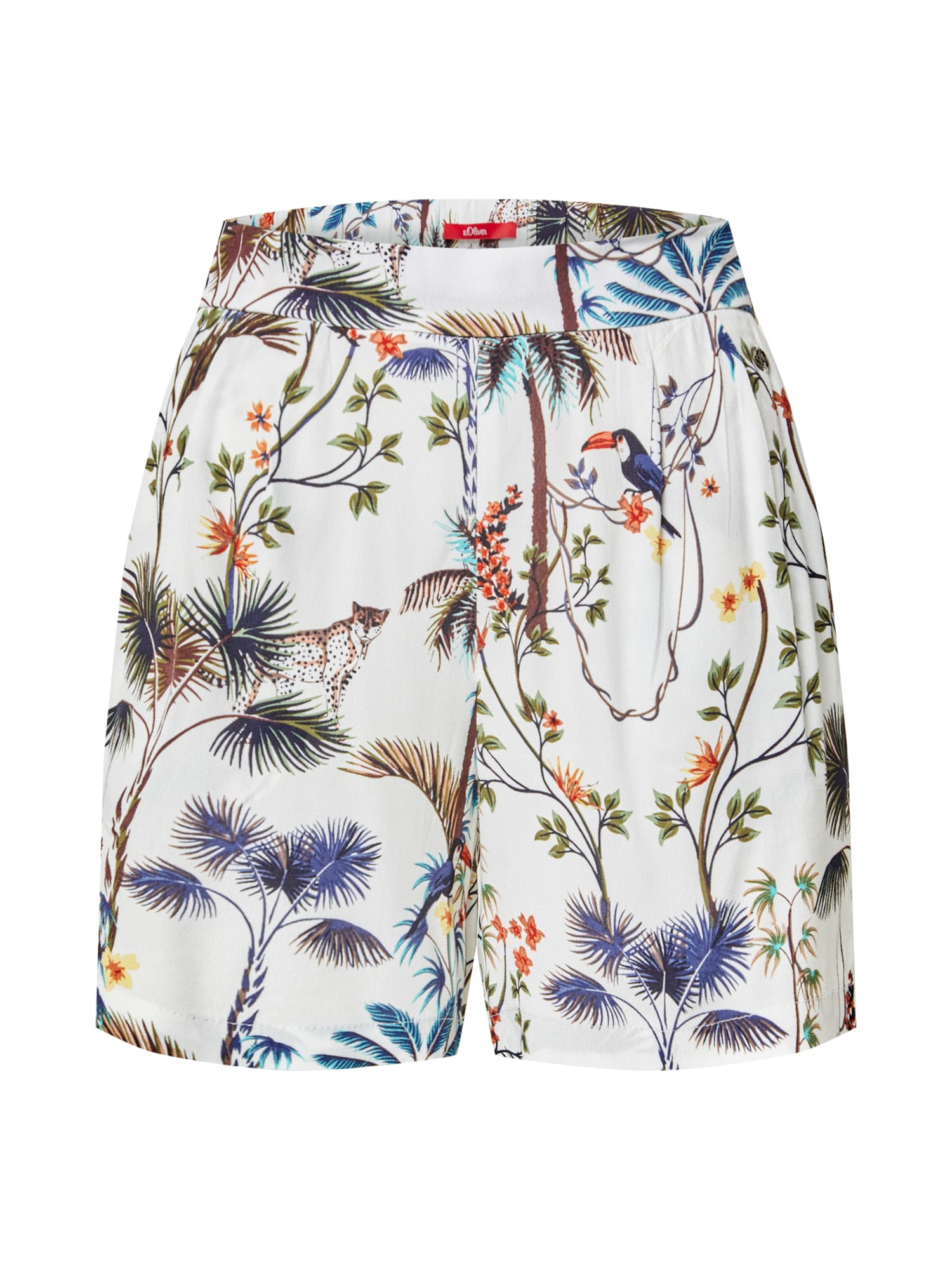 s.Oliver Plisované nohavice 'Bermuda'  zmiešané farby / krémová