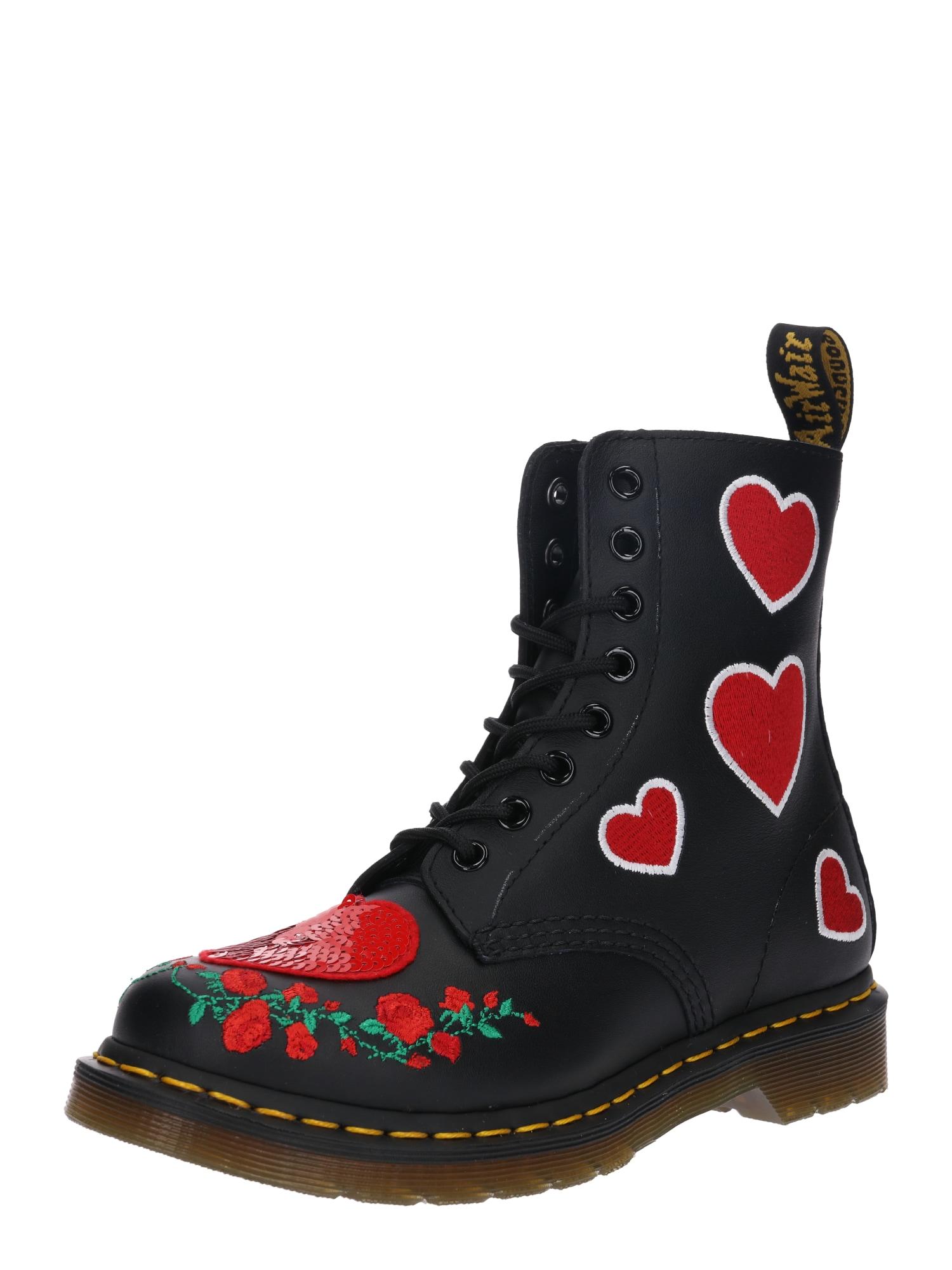 Kozačky 8 Eye Boot Pascal Hearts červená černá Dr. Martens