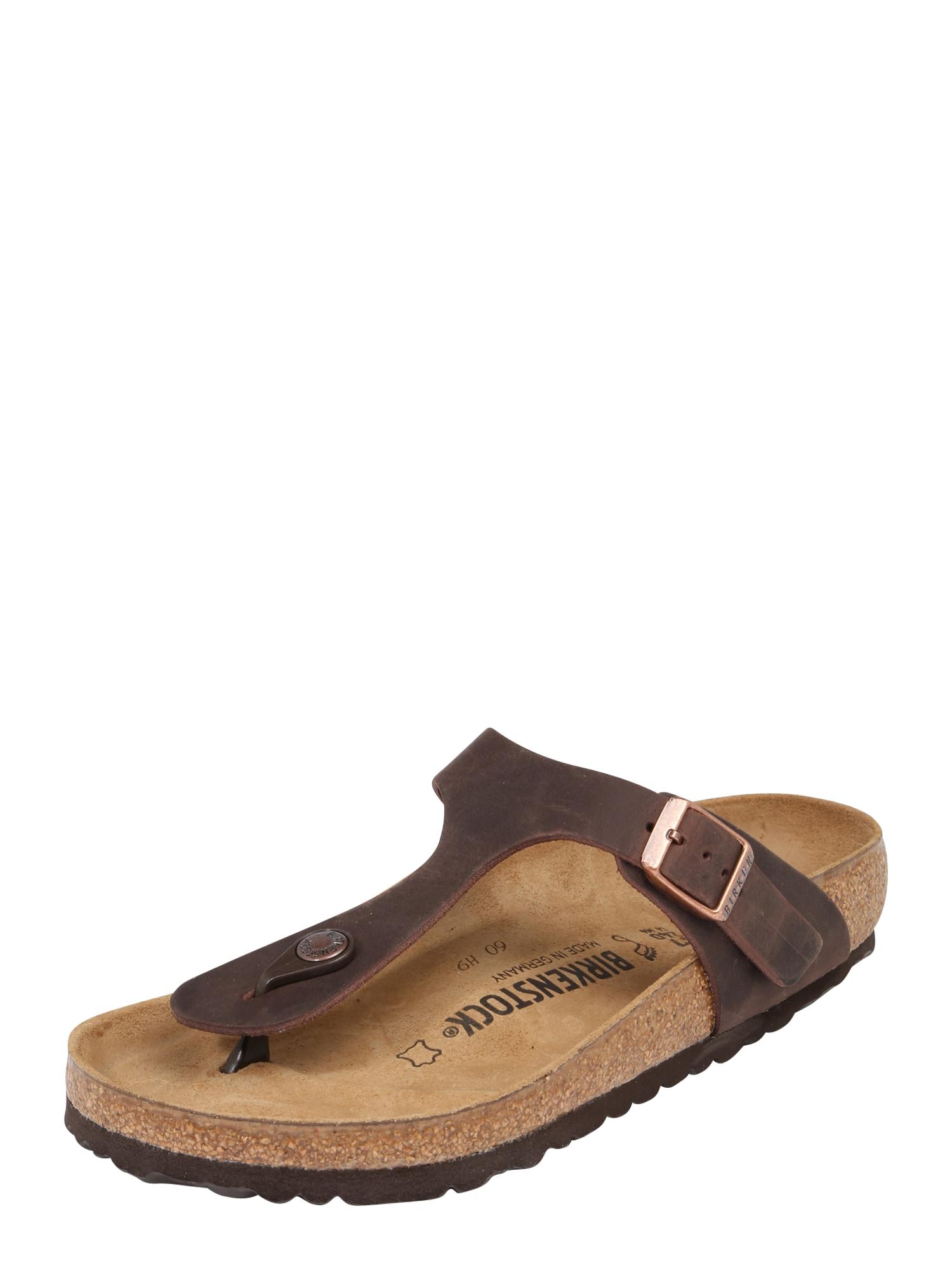 BIRKENSTOCK Sandalai 'Gizeh' kaštoninė spalva / ruda