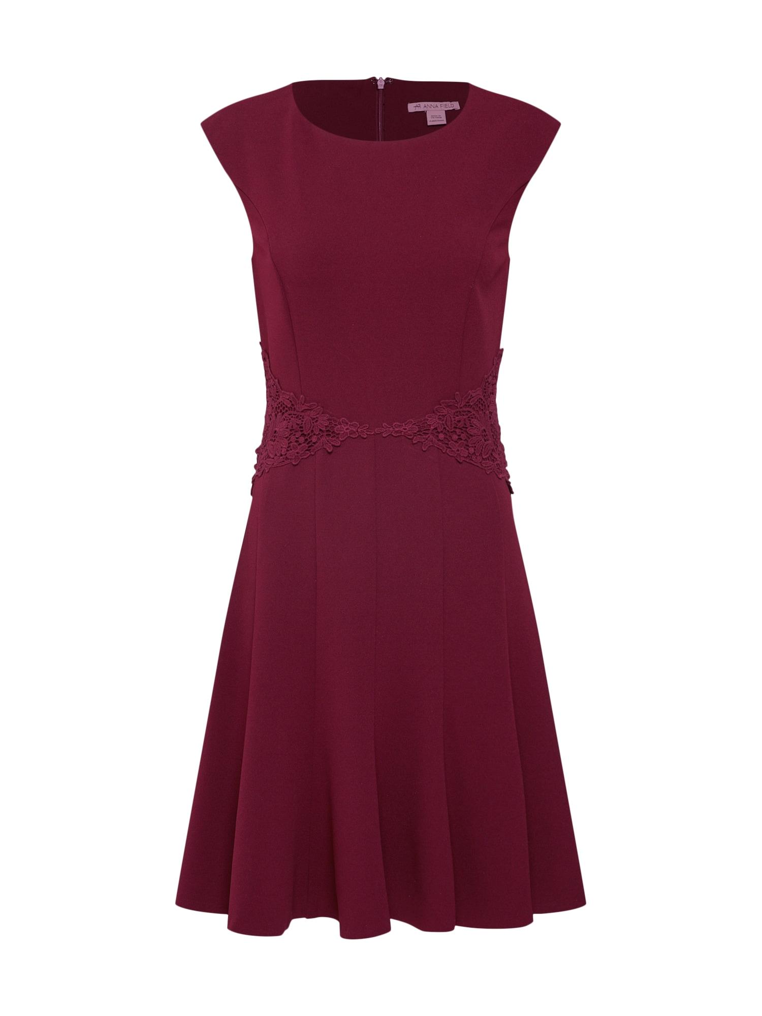 Letní šaty Jersey Dress with Lace Belt and Flared Skirt vínově červená Anna Field