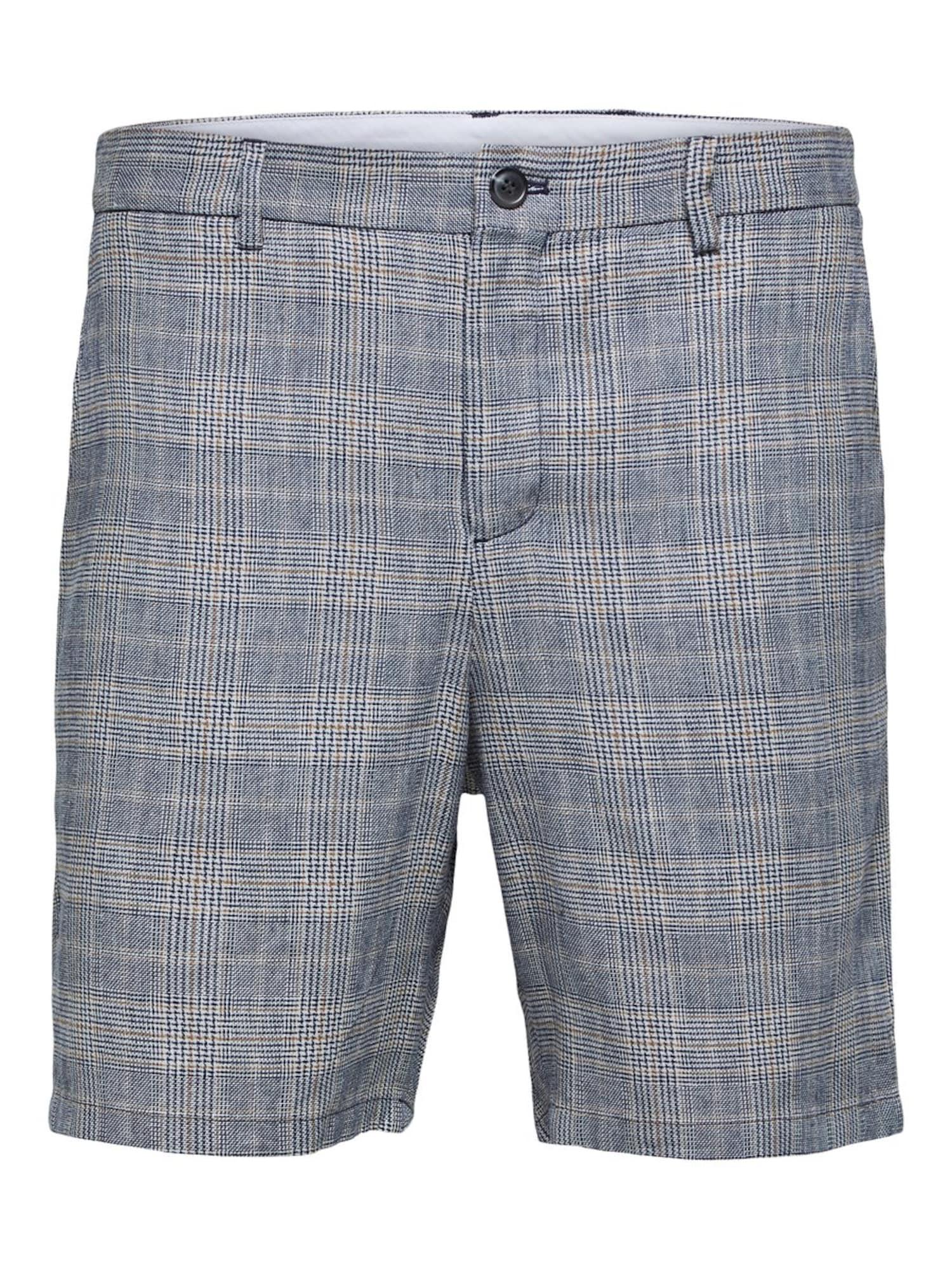 SELECTED HOMME Chino stiliaus kelnės tamsiai mėlyna / gelsvai pilka spalva / balta