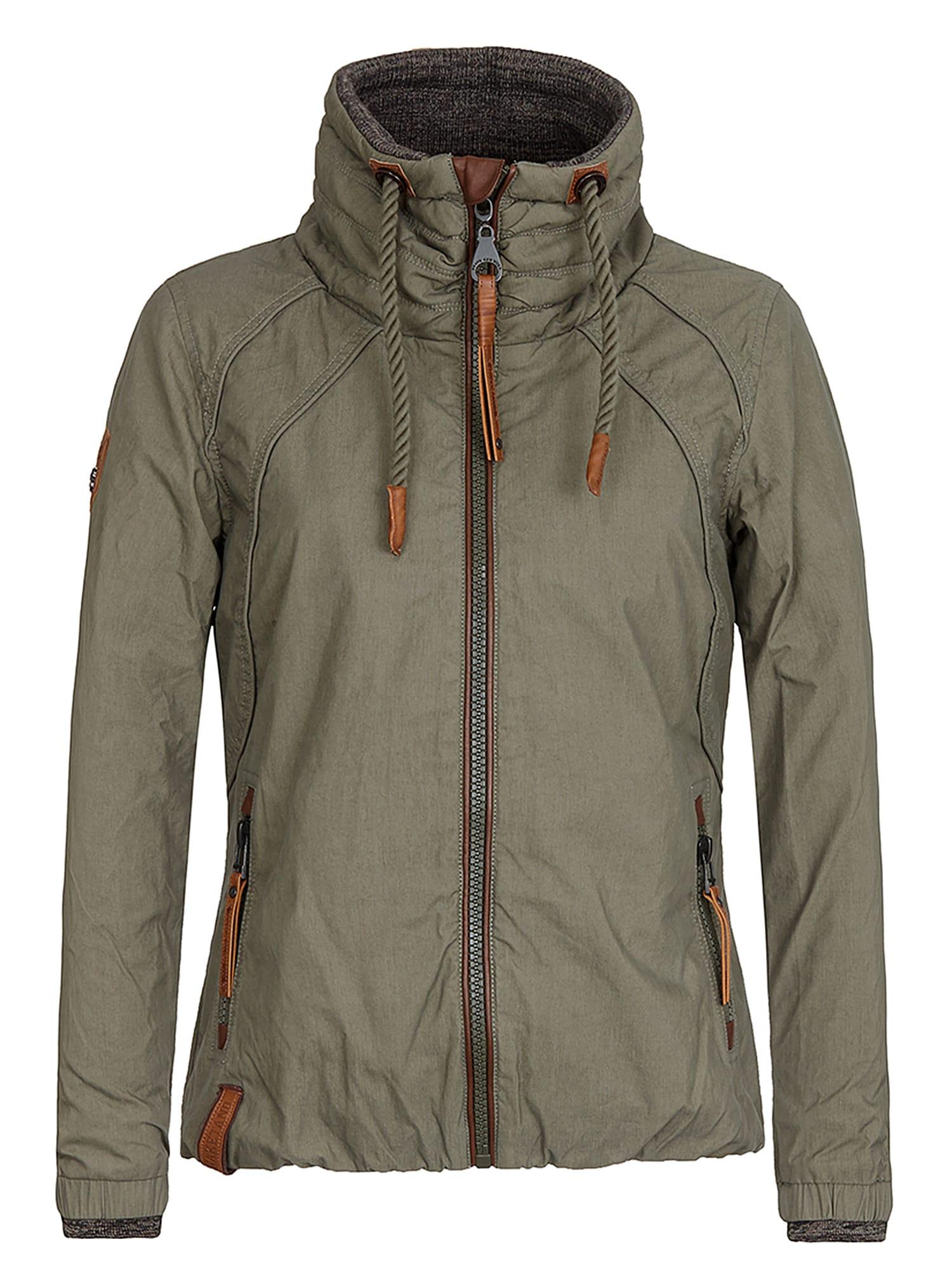naketano Prechodná bunda  hnedá melírovaná / svetlosivá / olivová