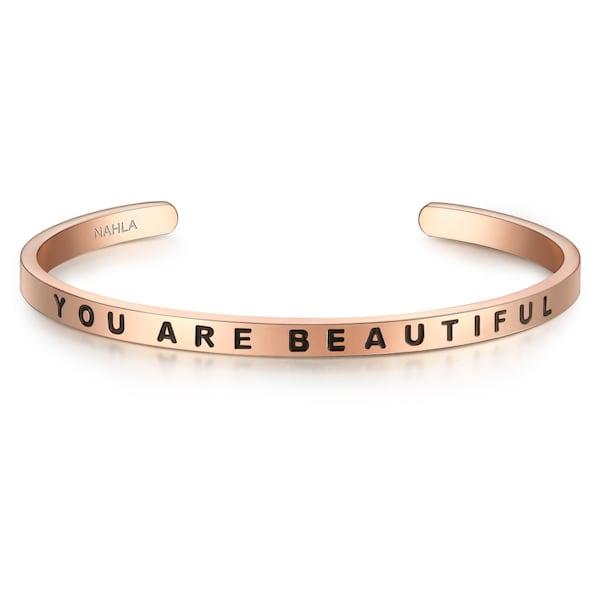 Armbaender für Frauen - Nahla Jewels Edelstahlarmreif mit Schriftzug YOU ARE BEAUTIFUL rosegold schwarz  - Onlineshop ABOUT YOU
