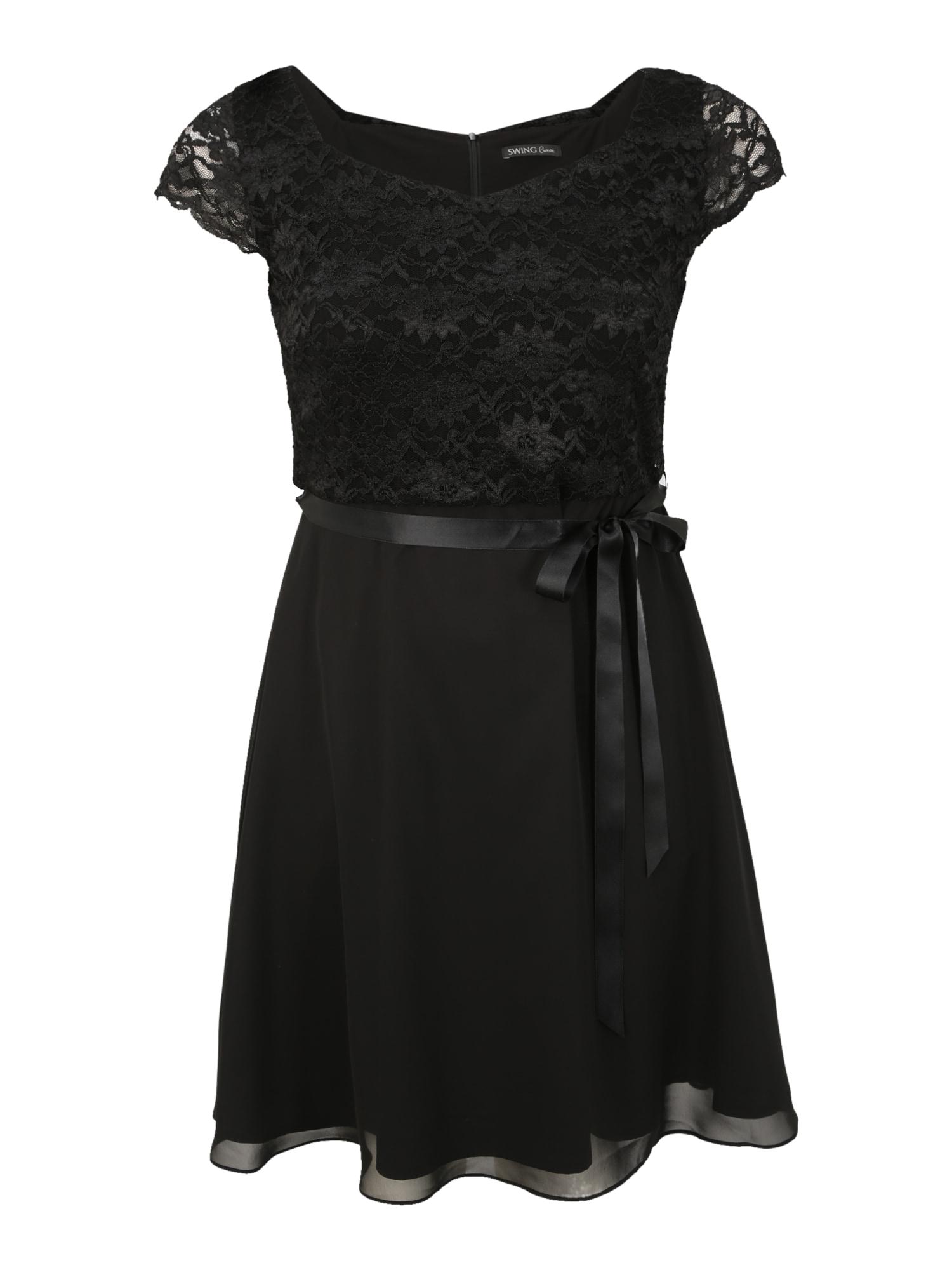 SWING Curve Kokteilinė suknelė juoda