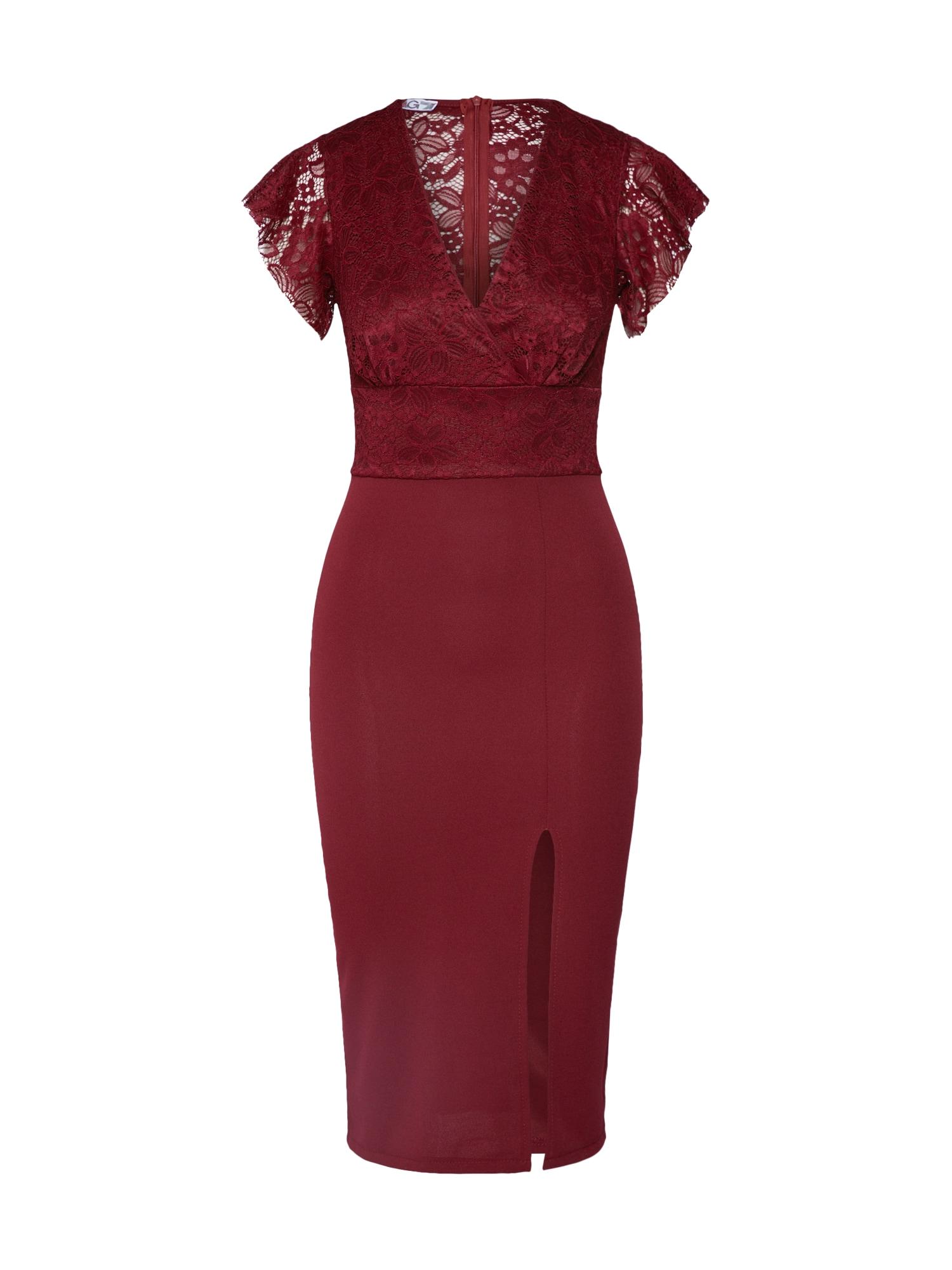 WAL G. Trumpa kokteilinė suknelė vyno raudona spalva