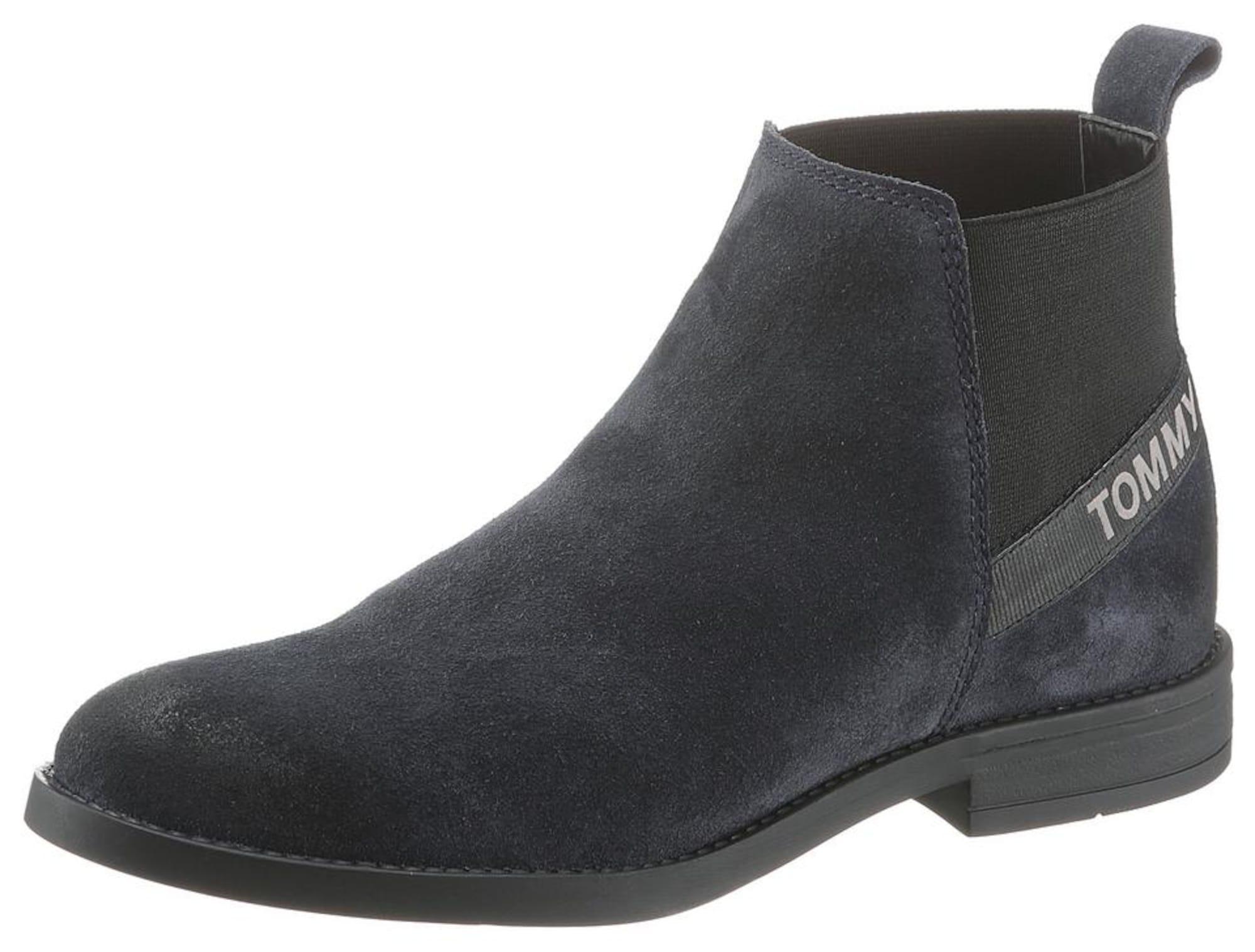 Tommy Jeans Kulkšnis dengiantys batai tamsiai mėlyna jūros spalva / juoda