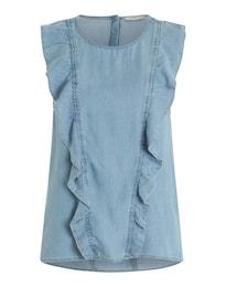 PIECES Damen Ärmellose Rüschen-Bluse blau | 05713446942135