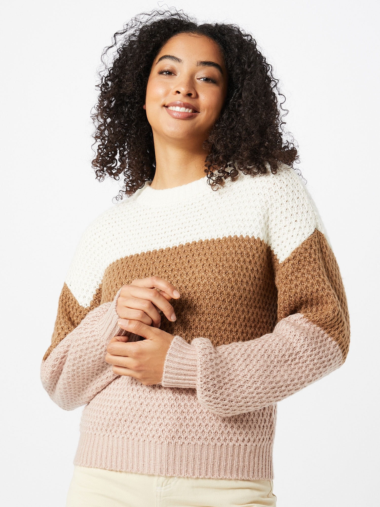 Abercrombie & Fitch Tröja  off-white / brun / ljusrosa