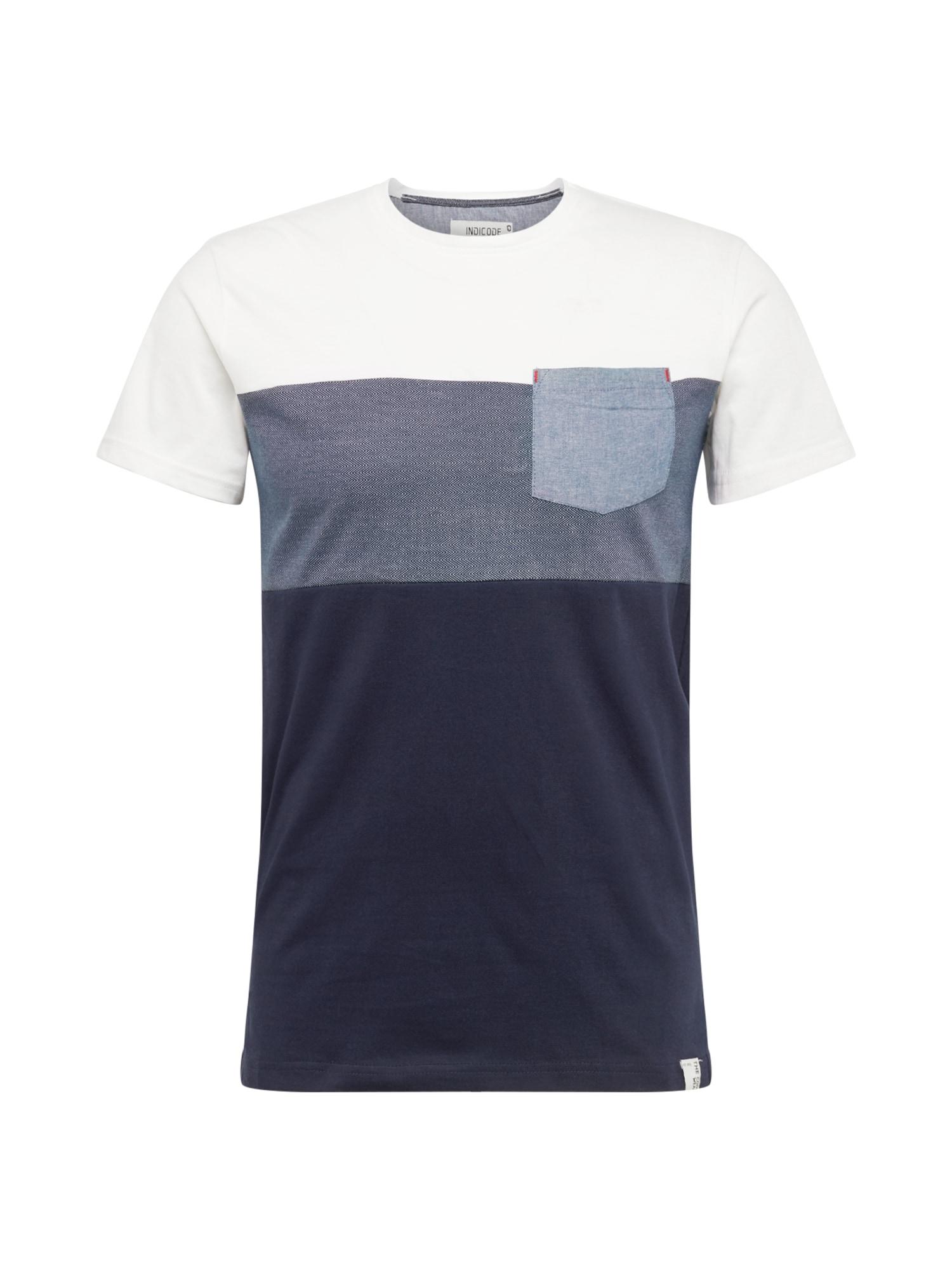 INDICODE JEANS Marškinėliai 'Clemens' balta / tamsiai mėlyna