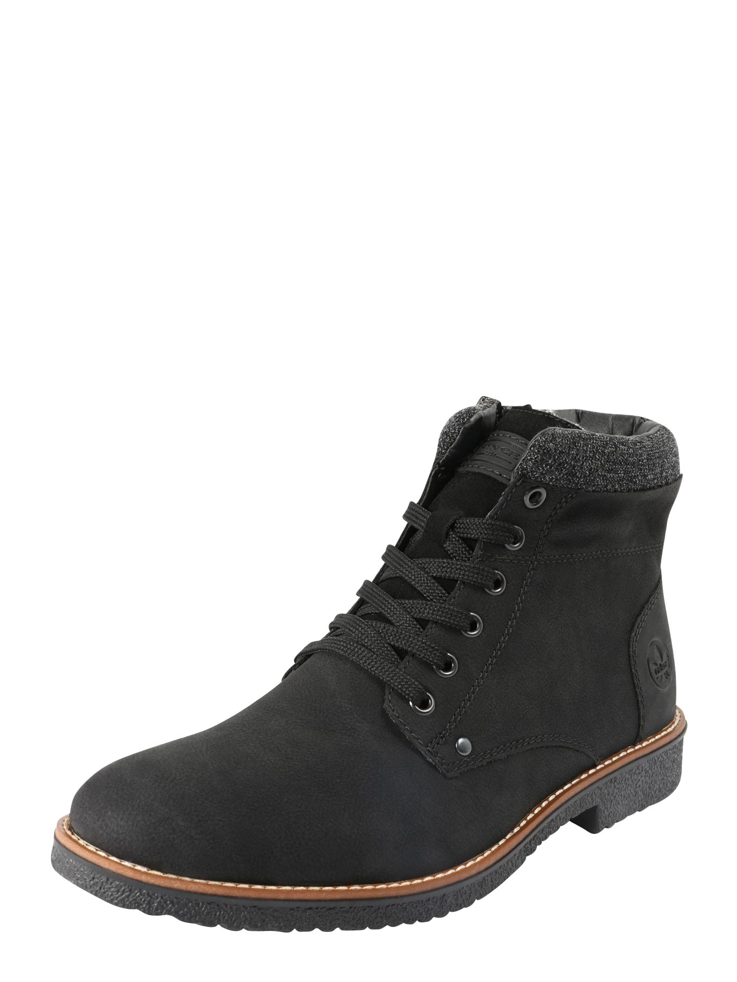 RIEKER Auliniai batai su raišteliais tamsiai pilka