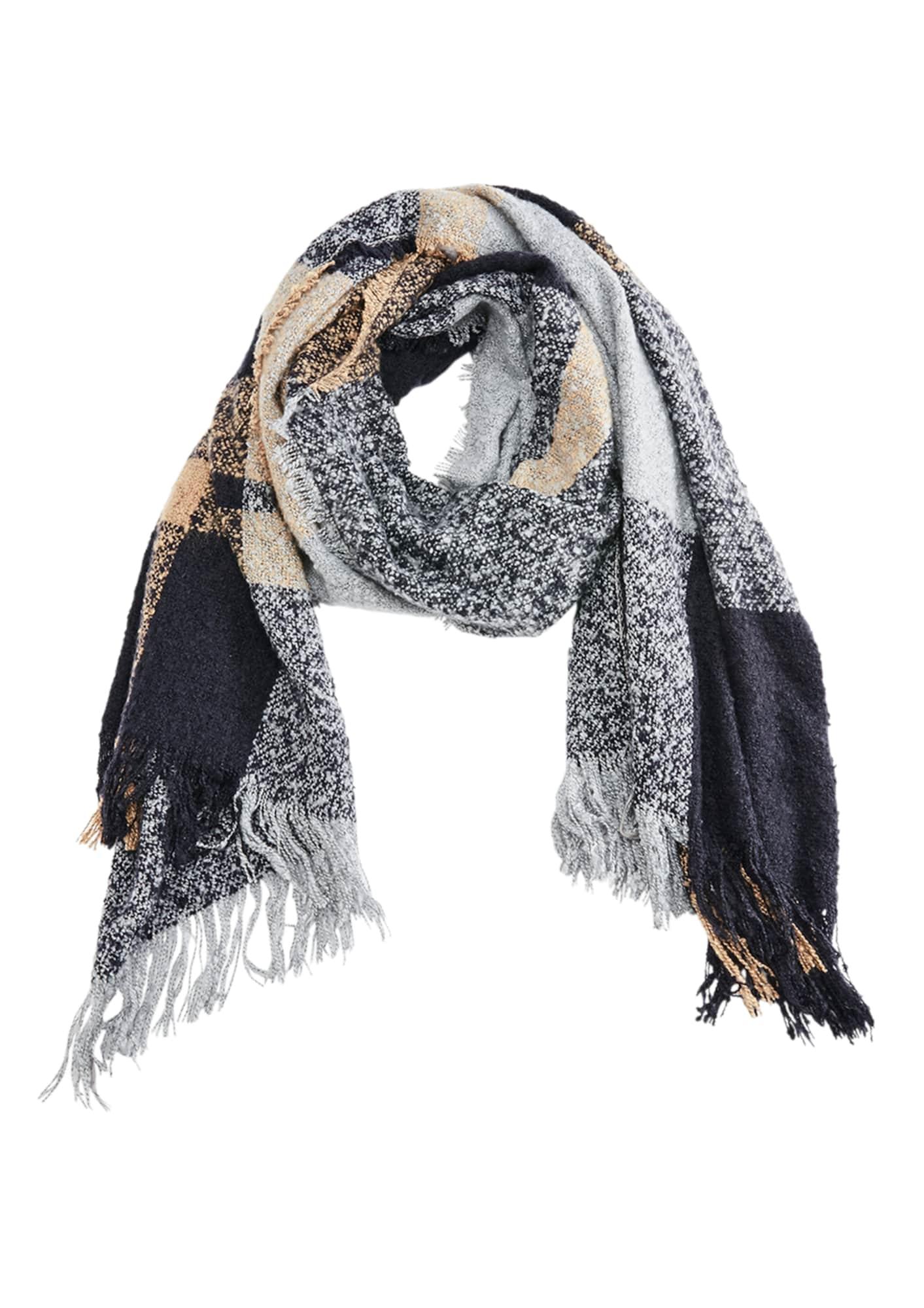Schals für Frauen - S.Oliver RED LABEL Bouclé Schal mit Karomuster blaumeliert braunmeliert graumeliert mischfarben  - Onlineshop ABOUT YOU