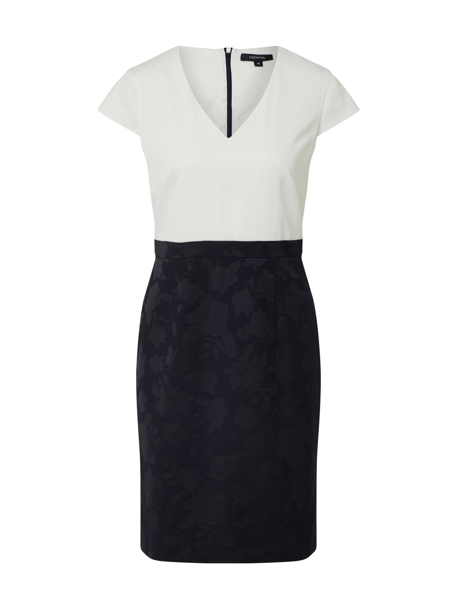 COMMA Trumpa kokteilinė suknelė balta / kobalto mėlyna