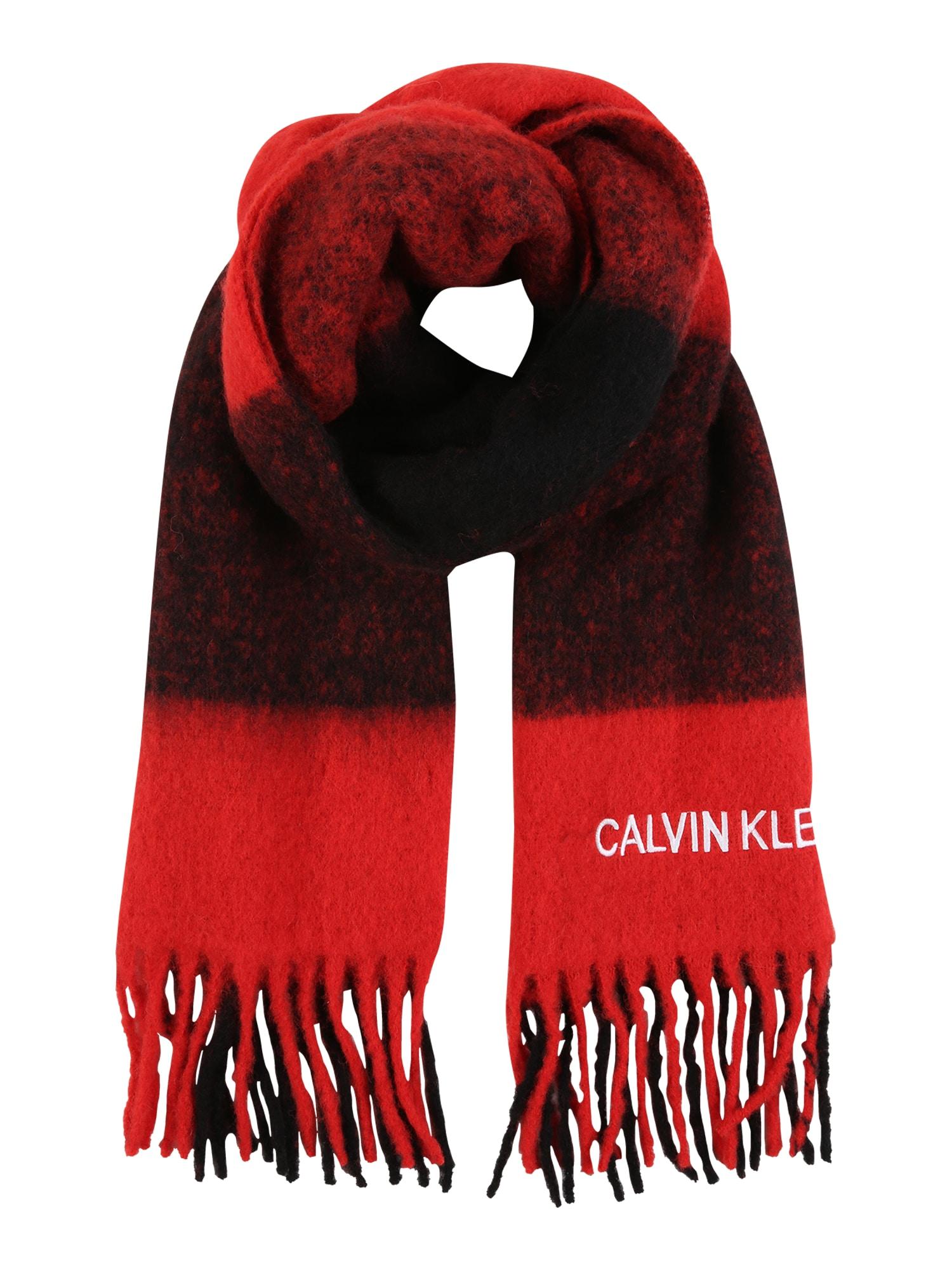 Calvin Klein Jeans Šalikas 'BUFFALO CHECK' juoda / raudona