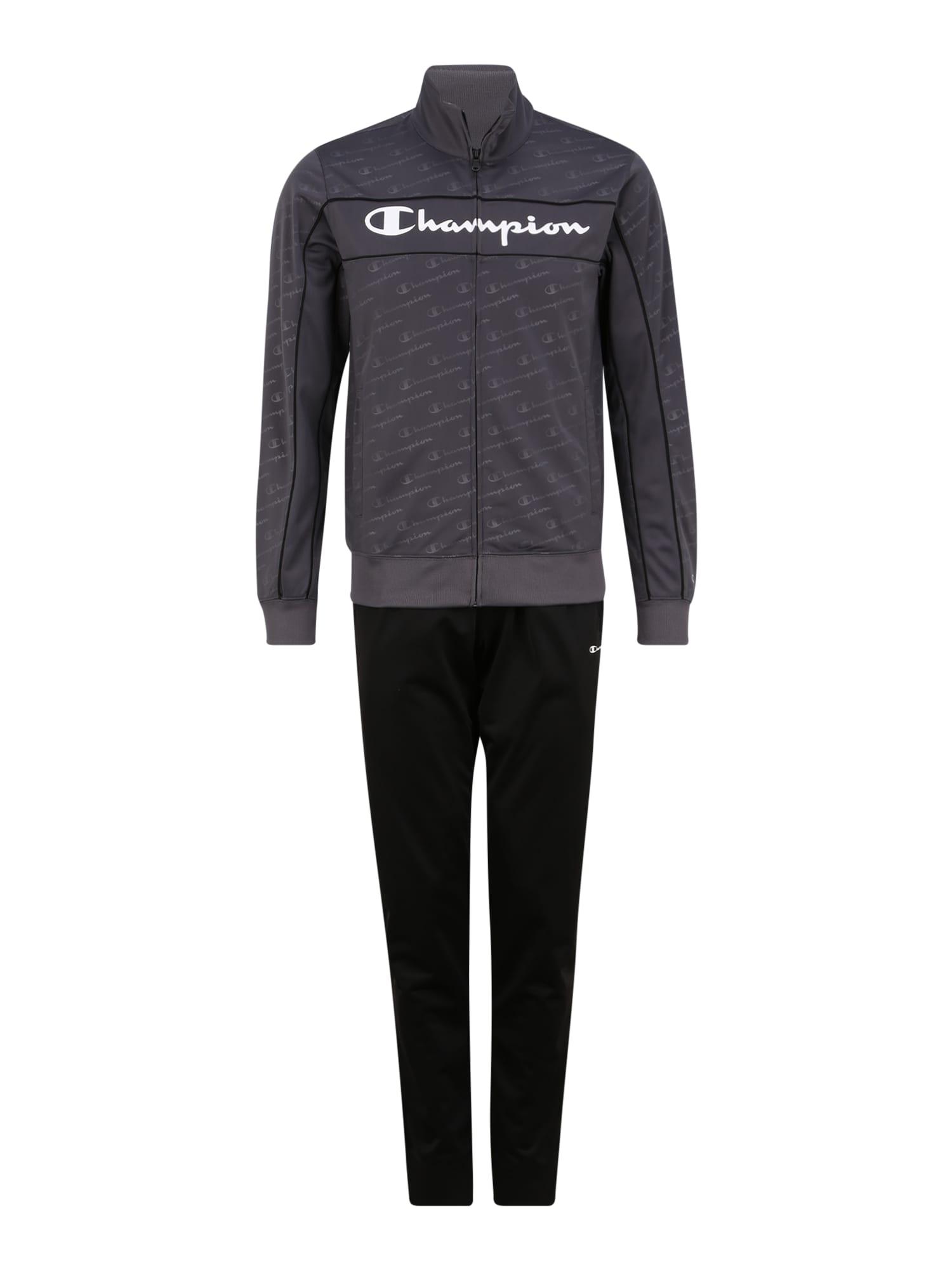 Champion Authentic Athletic Apparel Sportinis kostiumas juoda / tamsiai pilka