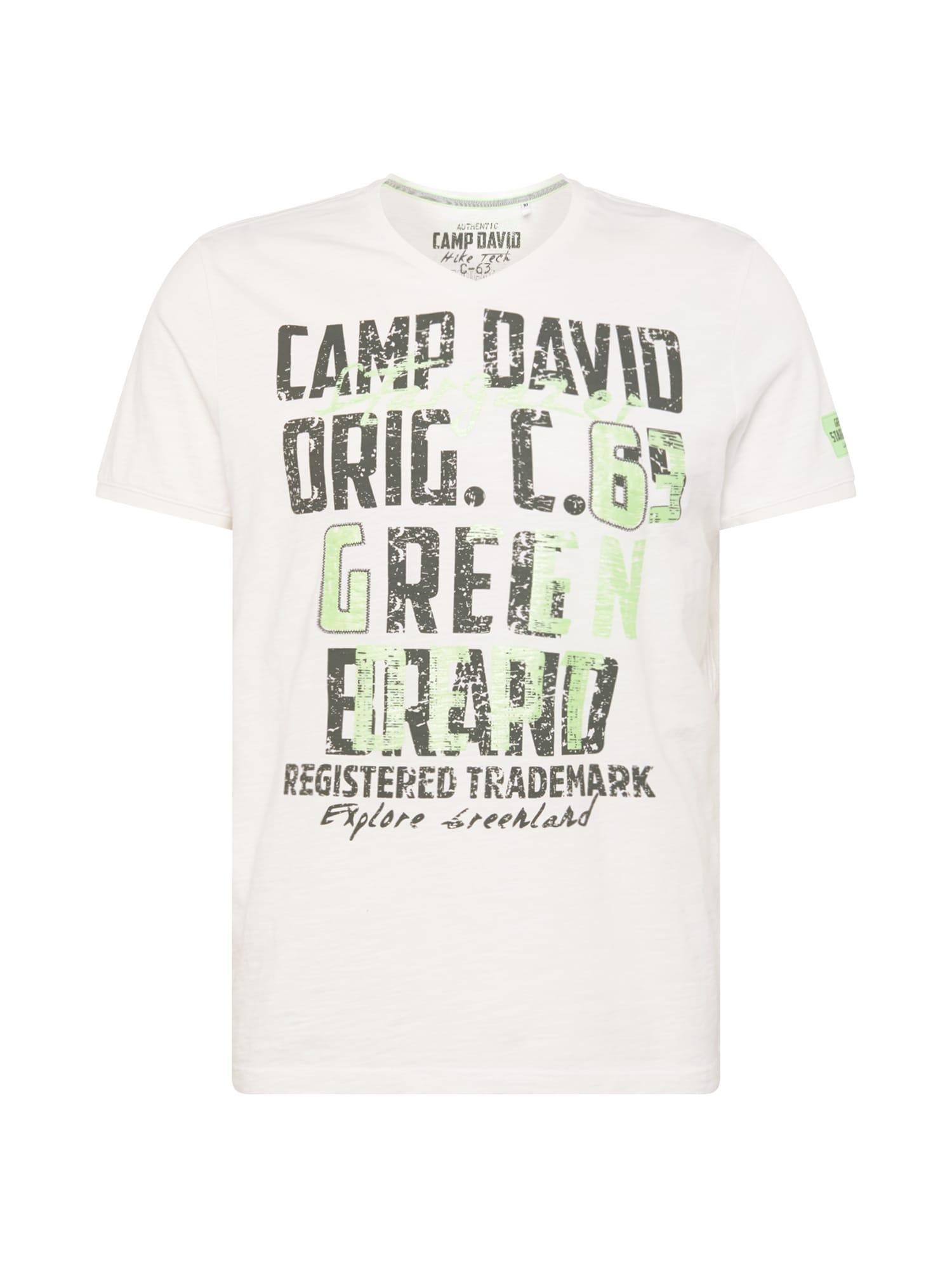 CAMP DAVID Marškinėliai balta / neoninė žalia / juoda