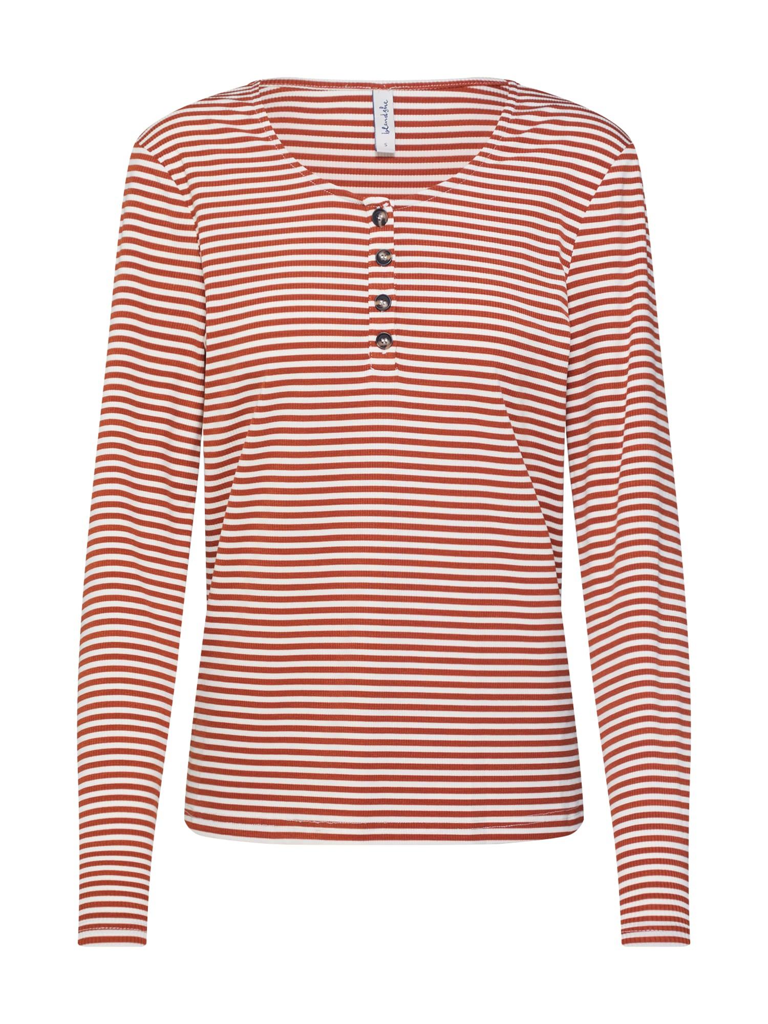 Blend She Marškinėliai 'BSLIVENNE SL LS' balta / ruda