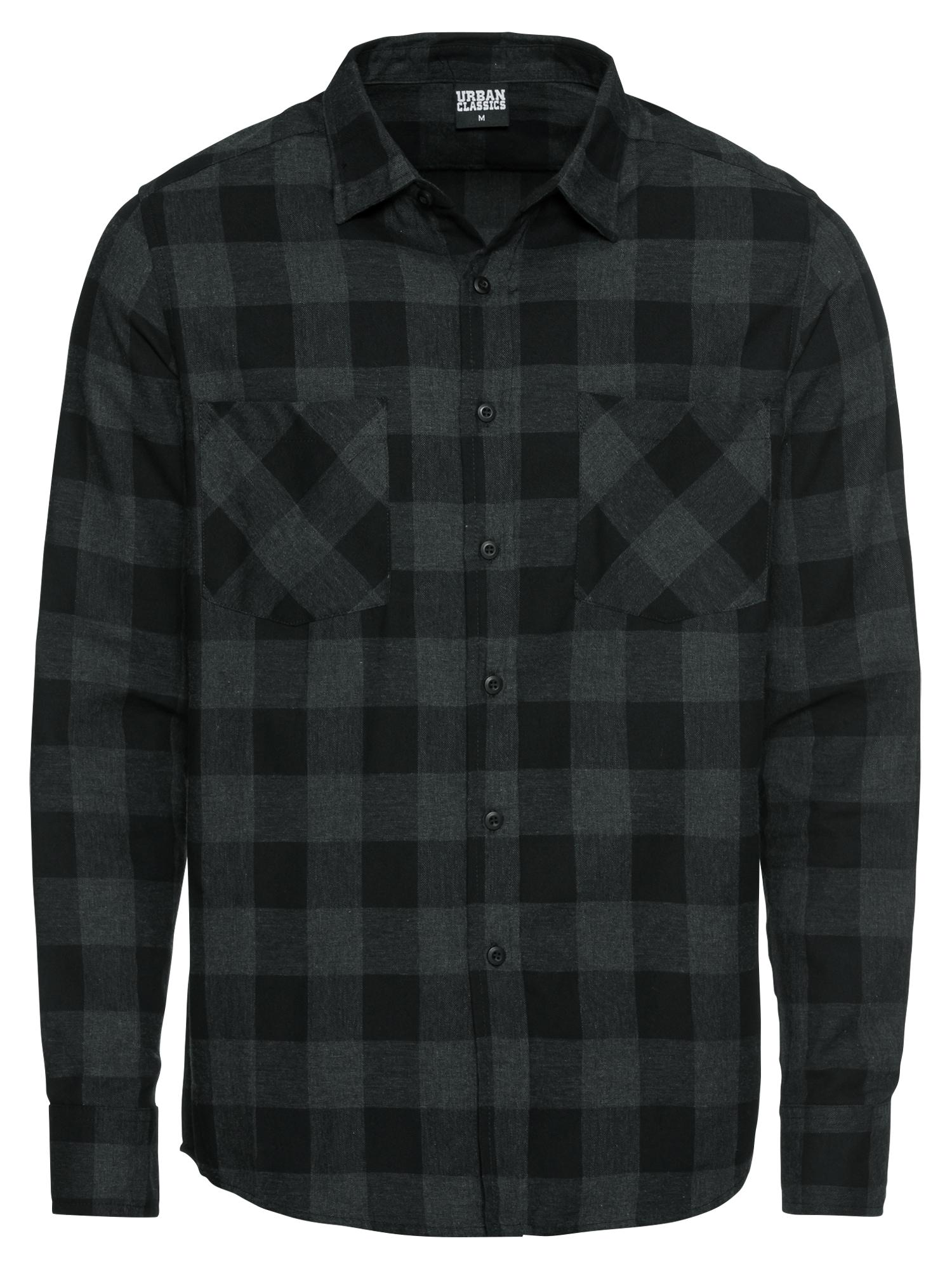 Urban Classics Dalykiniai marškiniai 'Checked Flanell' antracito / juoda