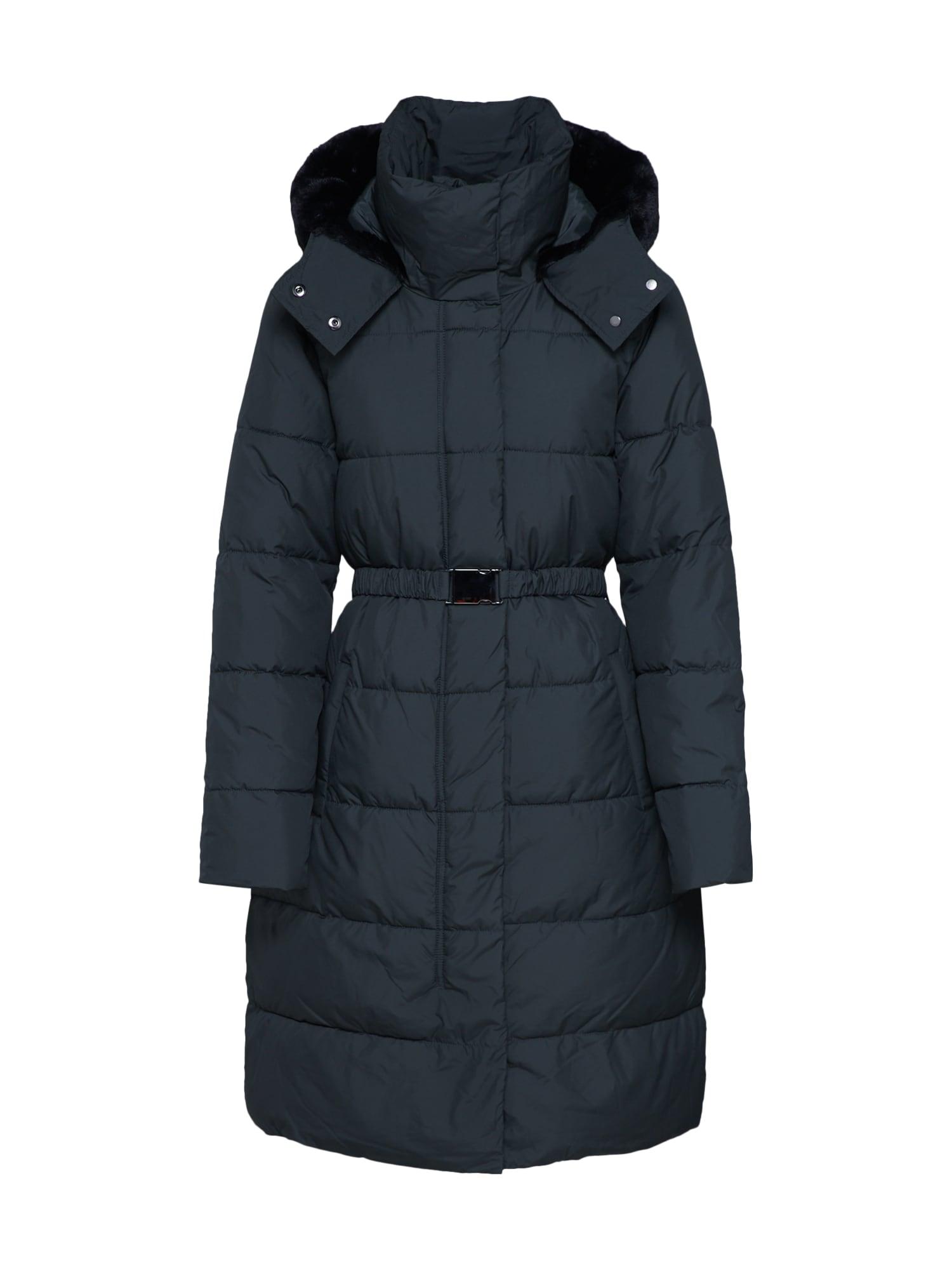 Banana Republic Žieminis paltas 'I LONG PUFFER W/ FUR TRIM HOOD' žalia