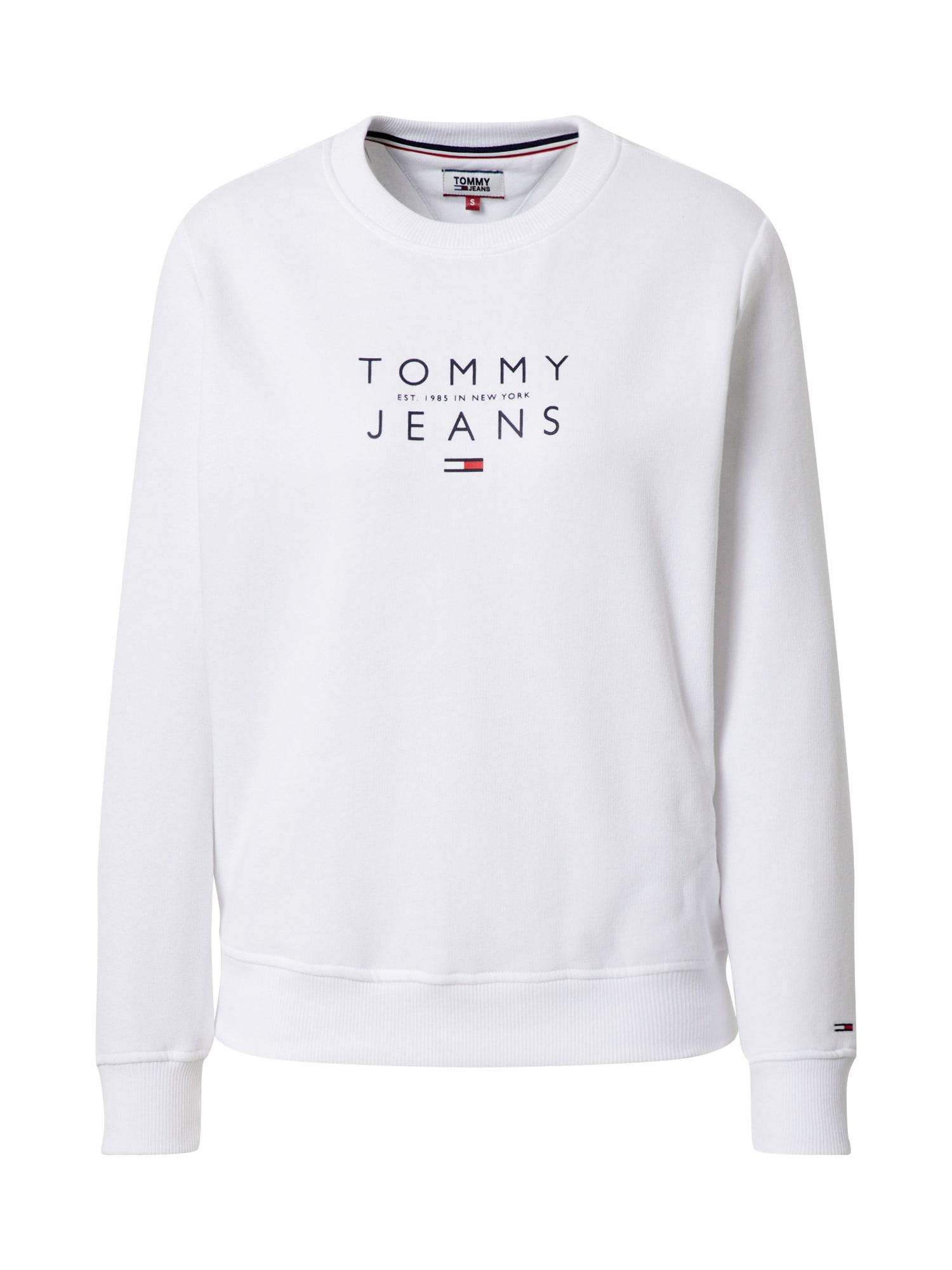 Tommy Jeans Mikina 'TJW ESSENTIAL LOGO SWEATSHIR'  biela