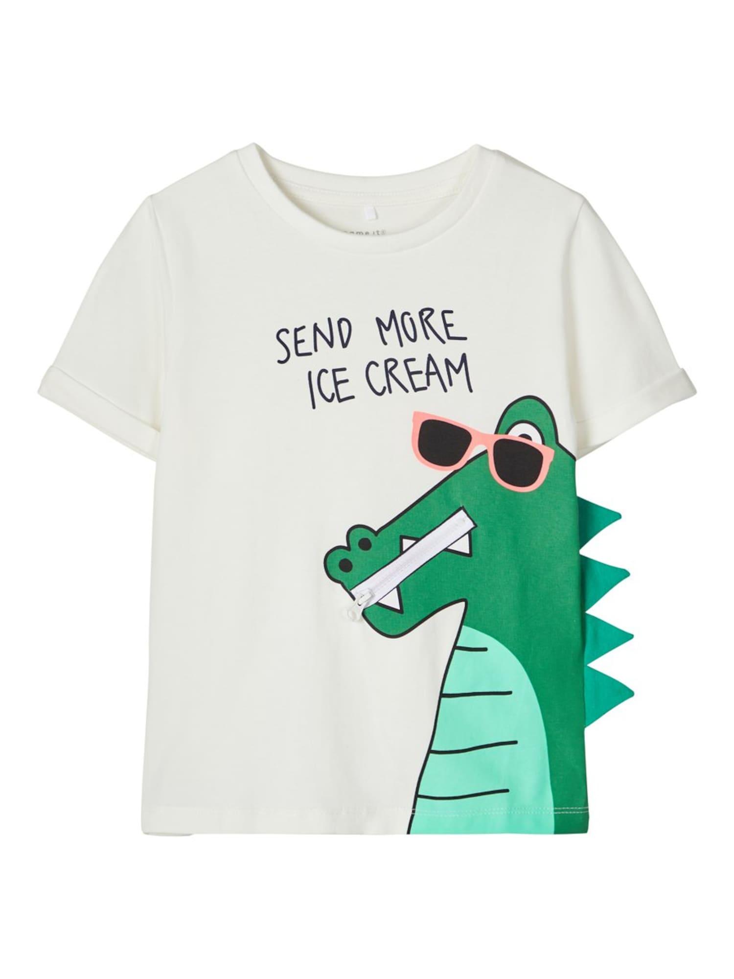 NAME IT Tričko  zelená / biela / čierna / nefritová / svetloružová