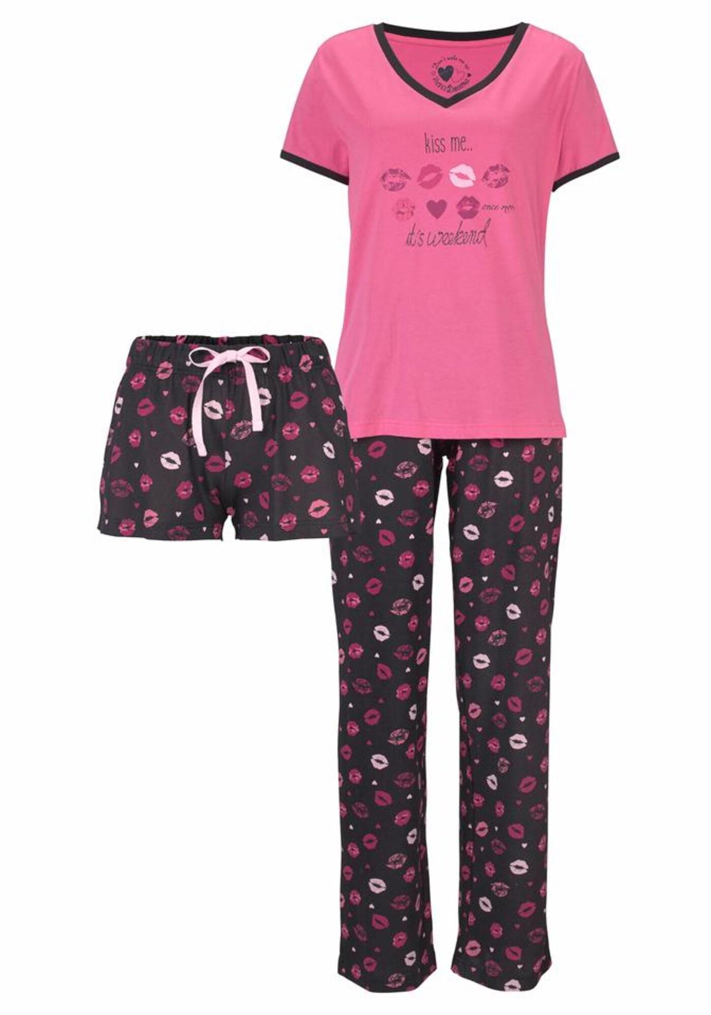 VIVANCE Pižama tamsiai rožinė / juoda