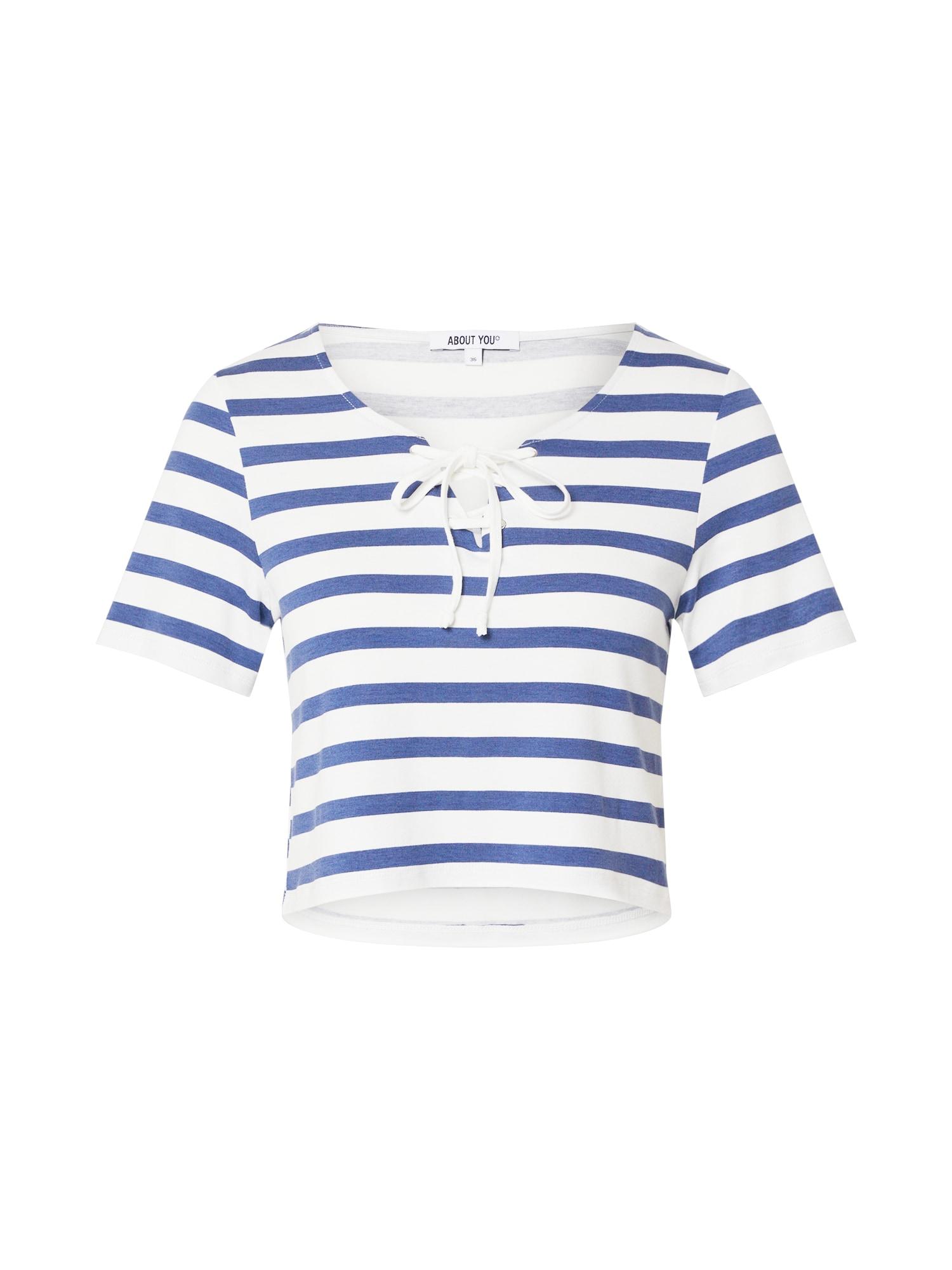 ABOUT YOU Marškinėliai 'Shirin' balta / mėlyna