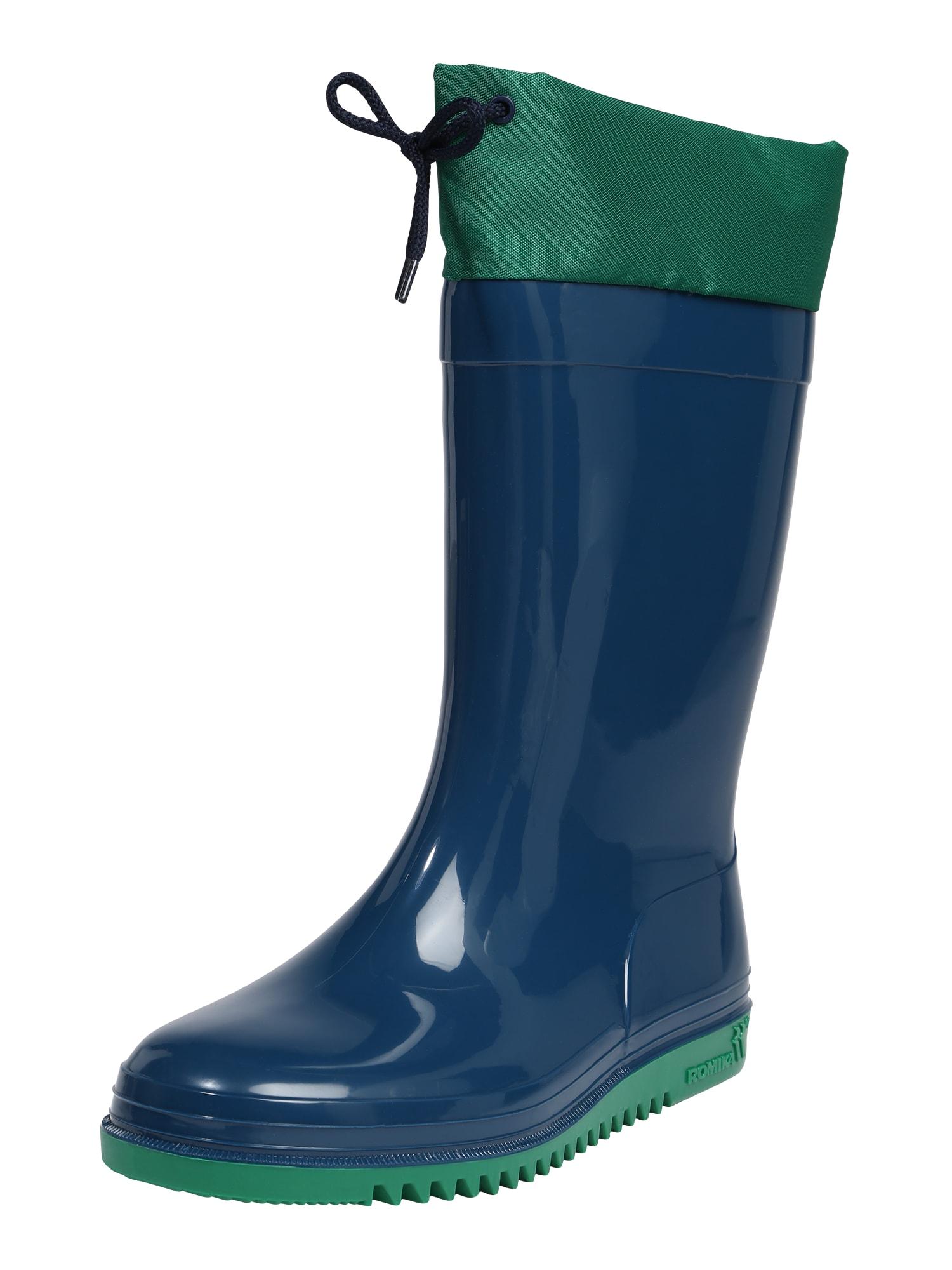 Gumové holínky Bobby modrá zelená ROMIKA