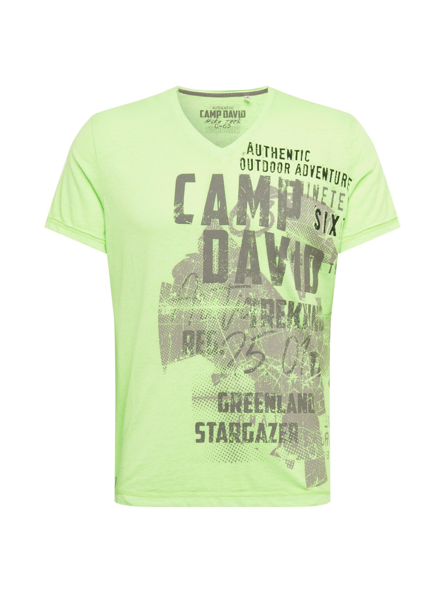 CAMP DAVID Marškinėliai šviesiai žalia / tamsiai pilka