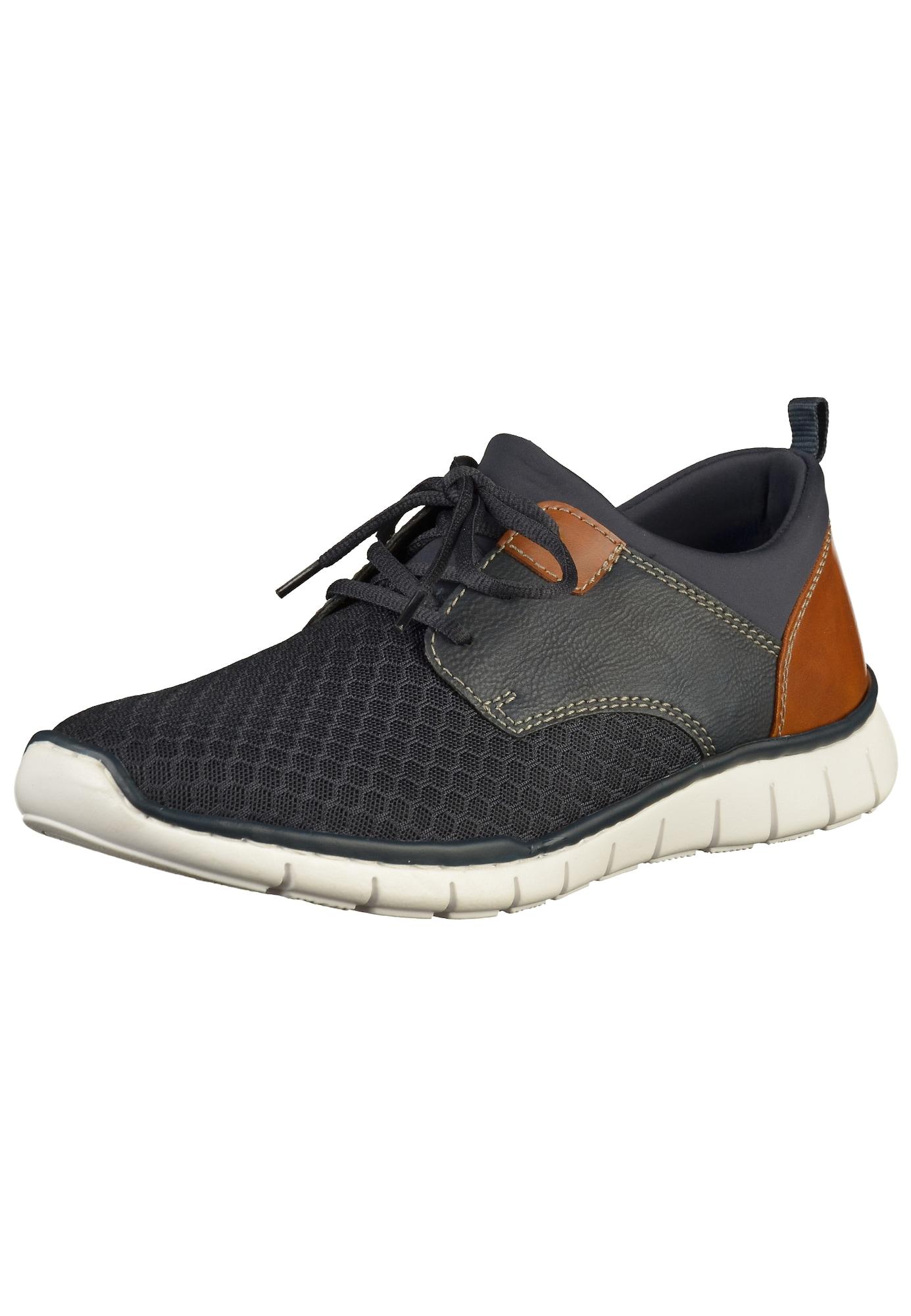 Sportovní šněrovací boty tmavě modrá hnědá RIEKER