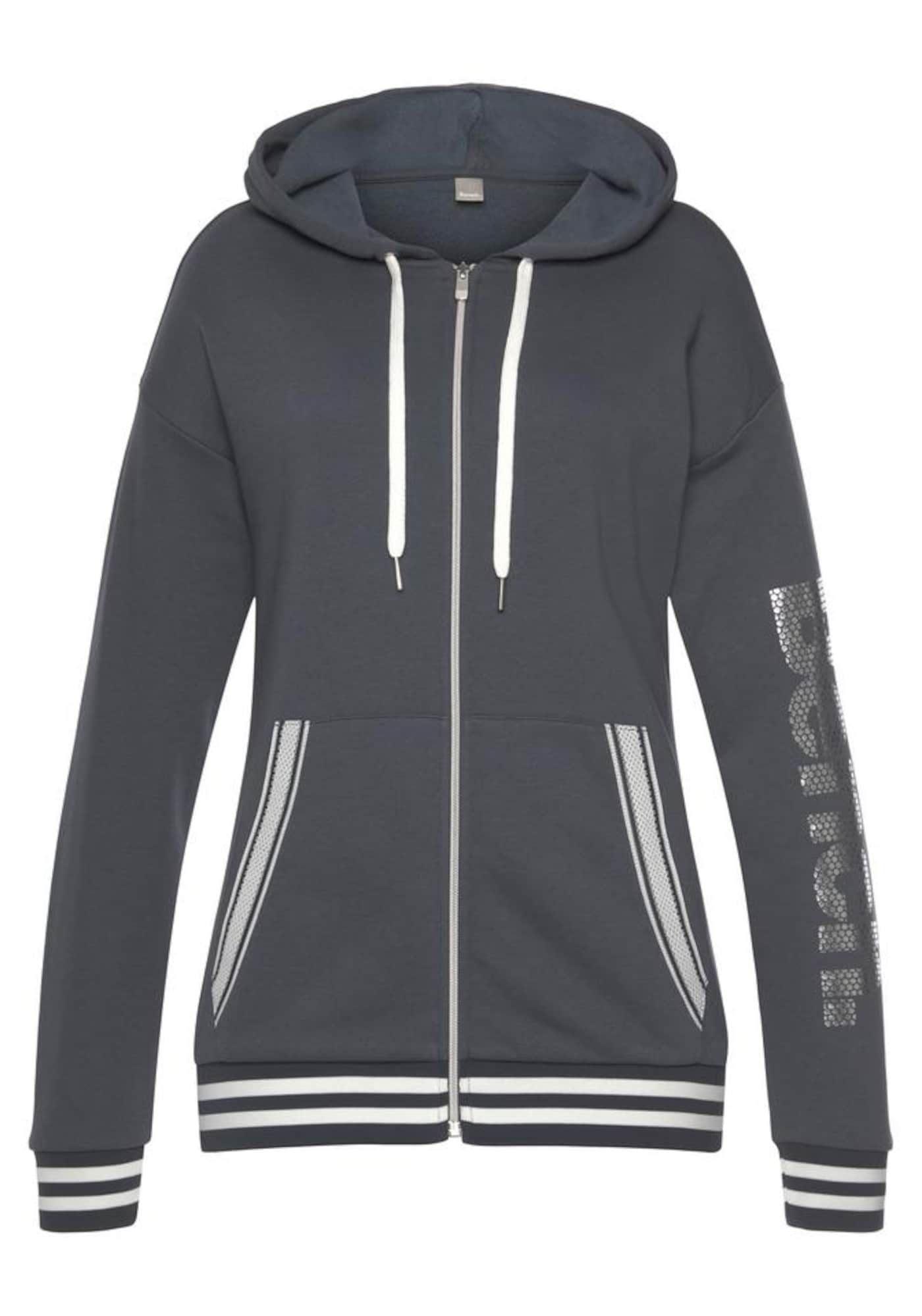 BENCH Džemperis antracito spalva / balta