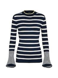SISTERS POINT Damen Üullover LEPI-PU blau,weiß | 05711180729173