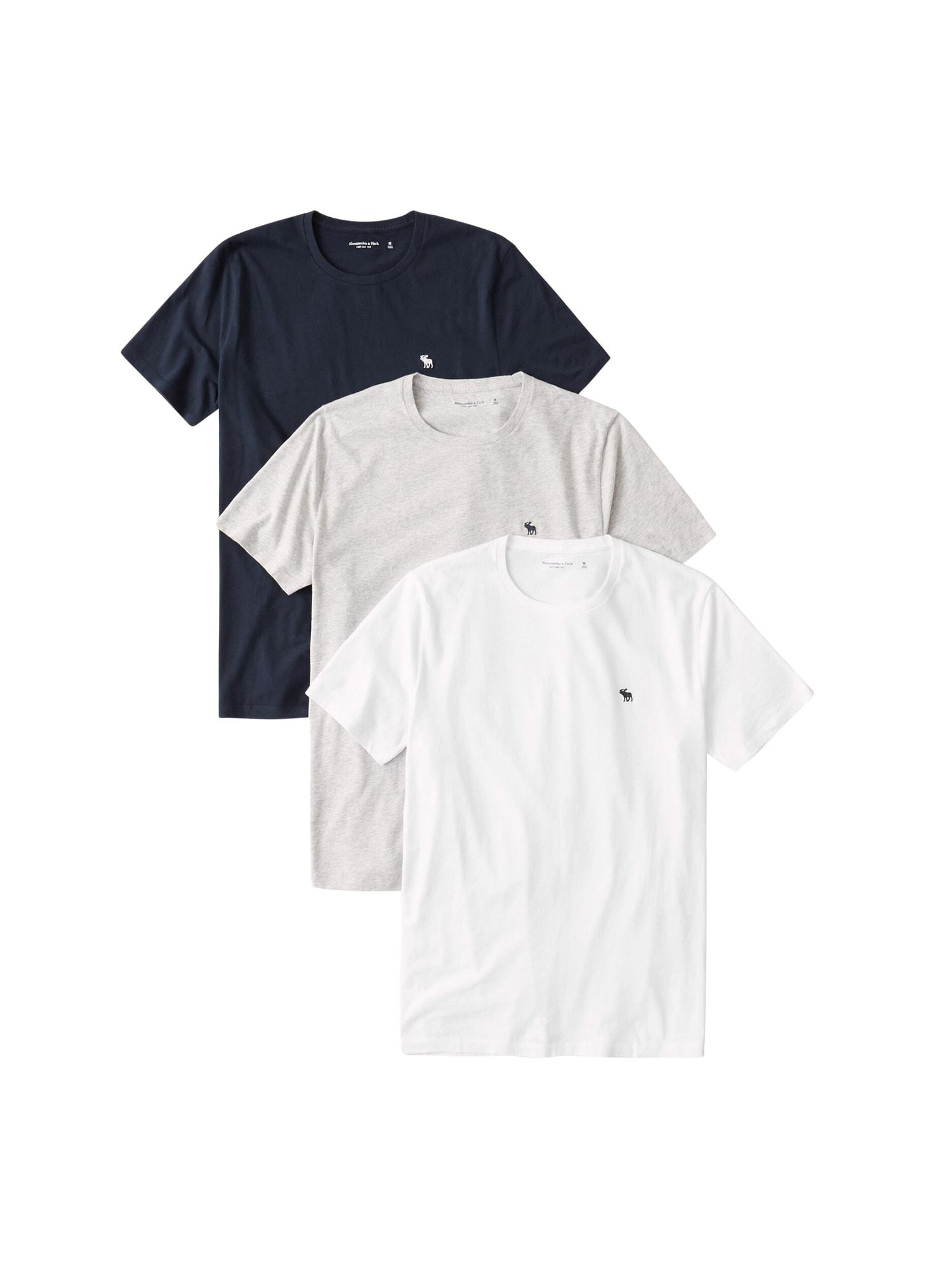 Abercrombie & Fitch Marškinėliai tamsiai mėlyna / balta / pilka