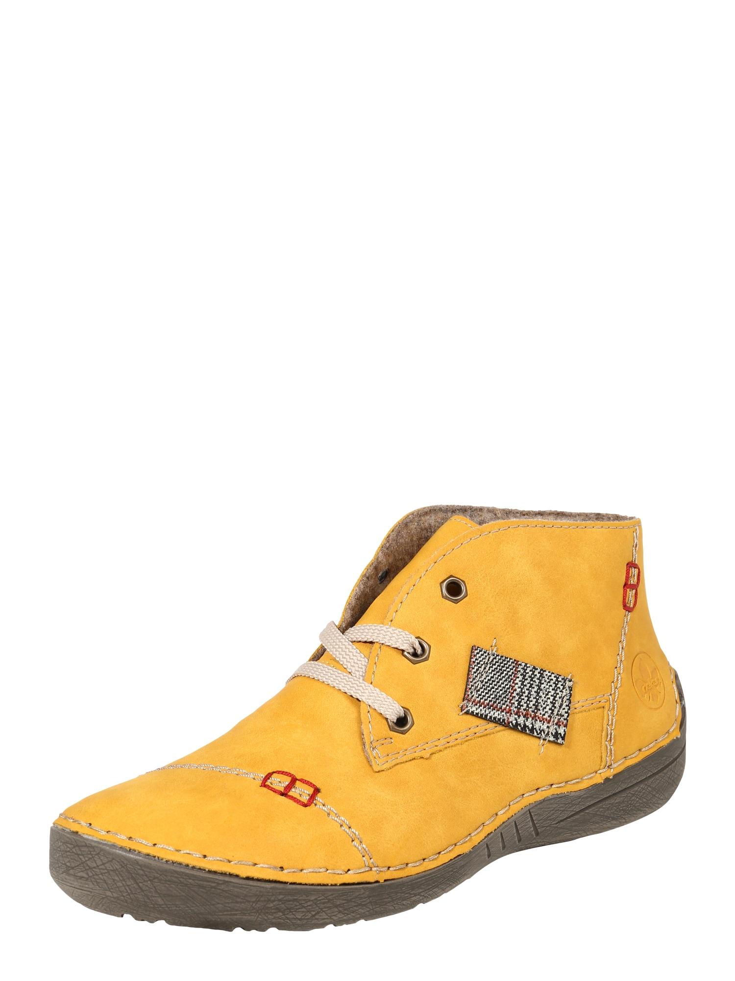 RIEKER Šněrovací boty  žlutá / červená / černá