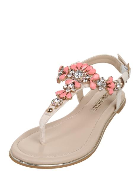 Sandalen für Frauen - BUFFALO Zehentrenner mit Ziersteinen nude rosa  - Onlineshop ABOUT YOU