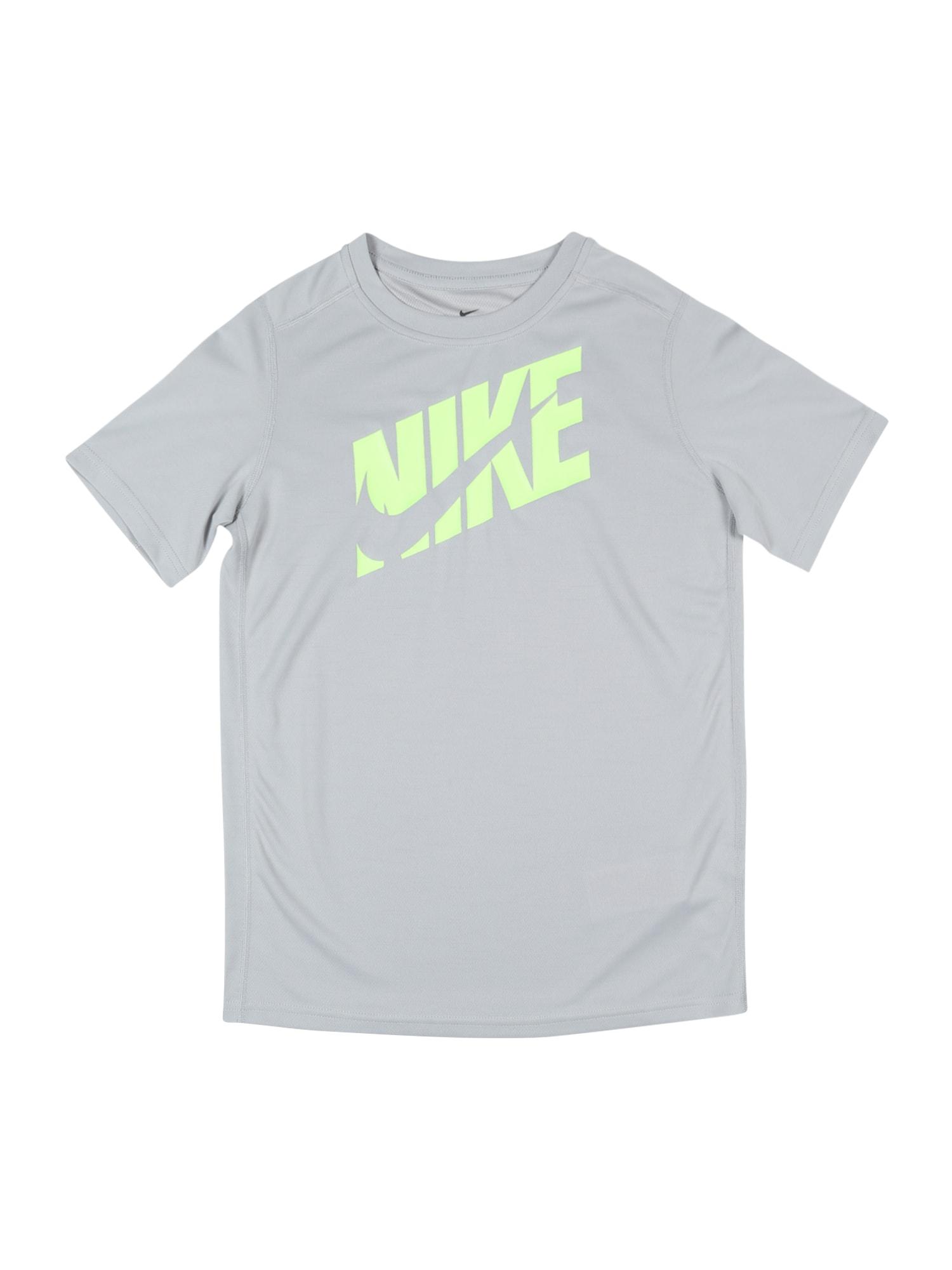 NIKE Sportiniai marškinėliai pilka / neoninė žalia