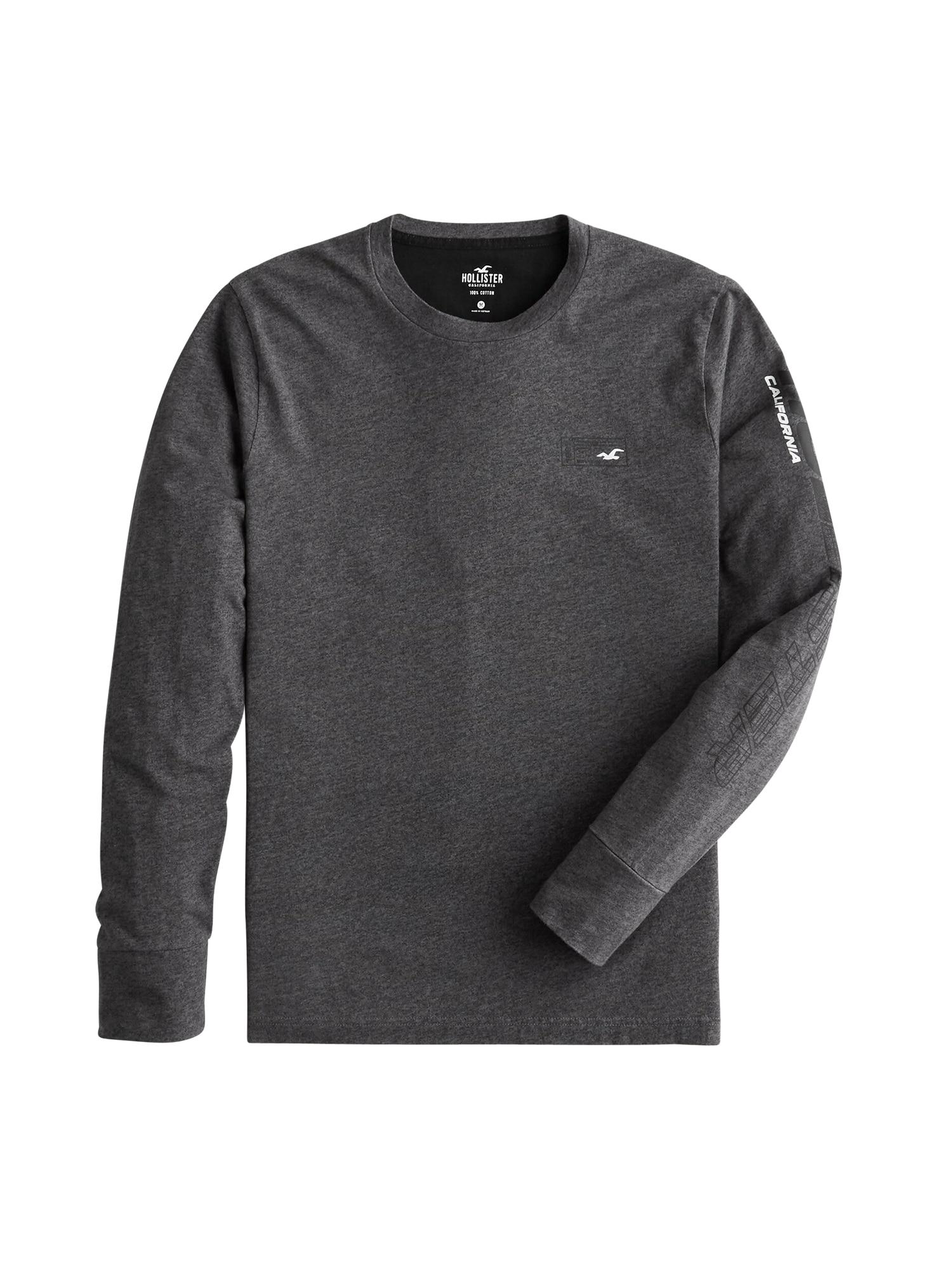 HOLLISTER Marškinėliai tamsiai pilka