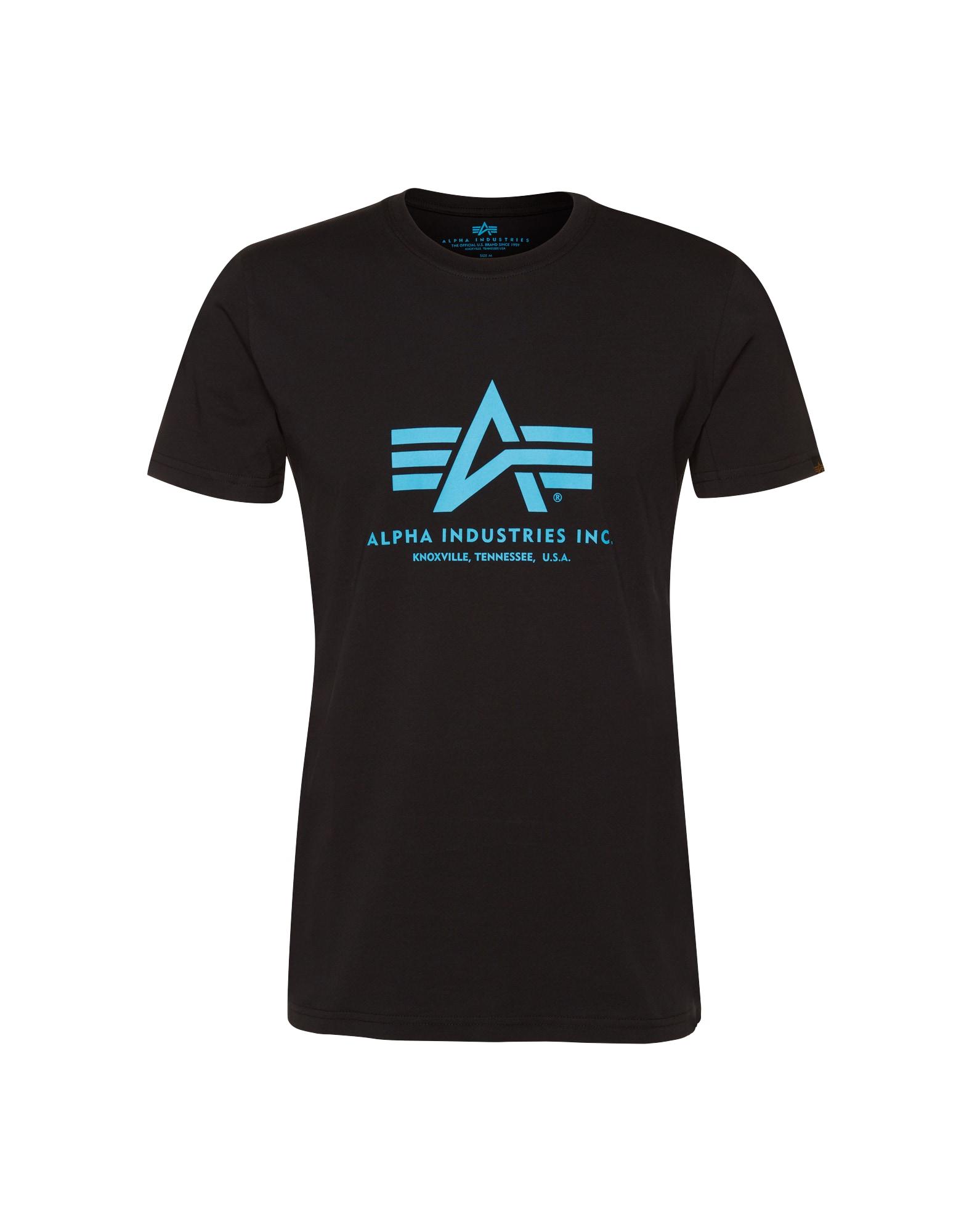 ALPHA INDUSTRIES Marškinėliai juoda / šviesiai mėlyna