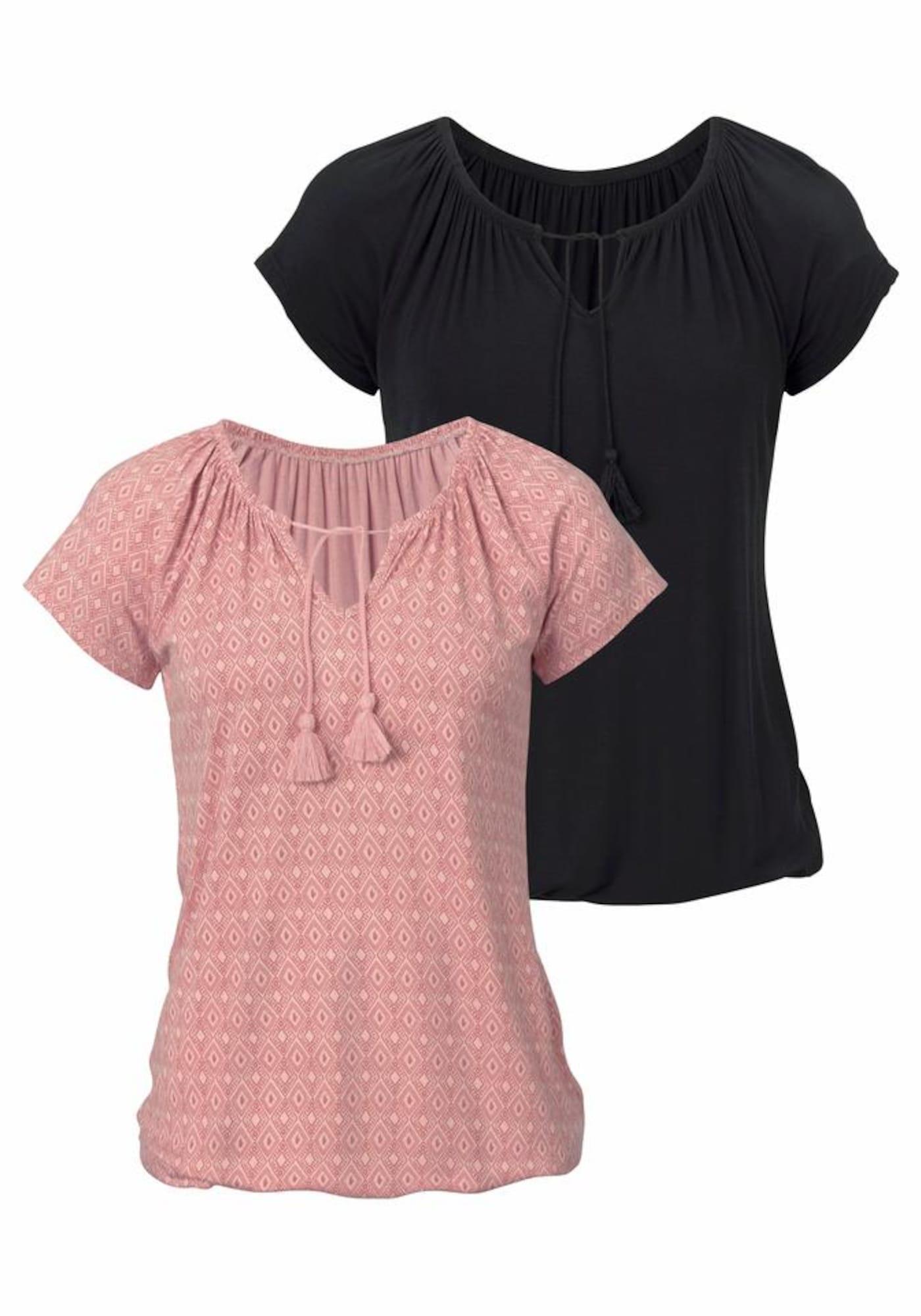 VIVANCE Marškinėliai ryškiai rožinė spalva / juoda