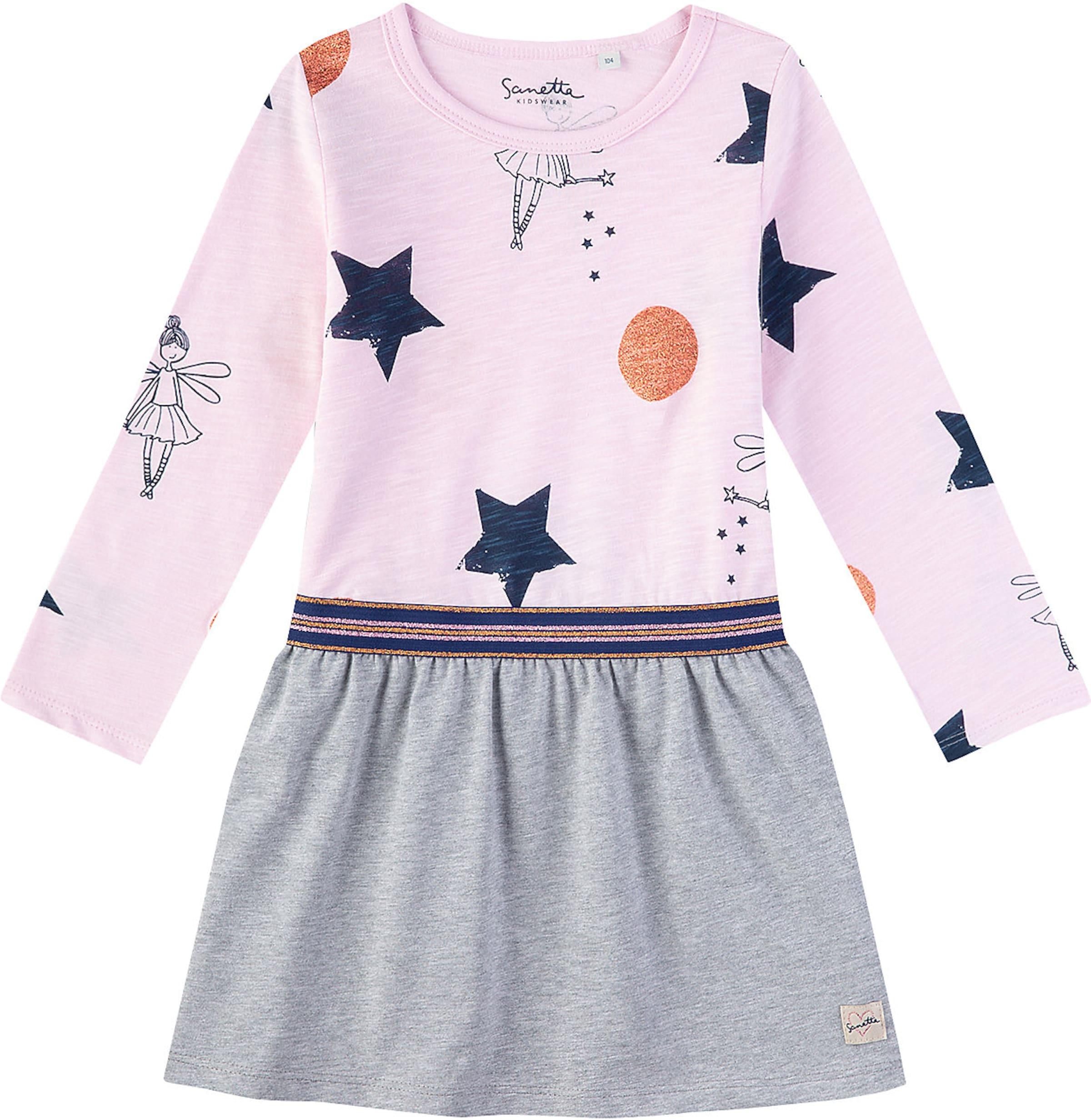 Kinder,  Mädchen,  Kinder Sanetta Kidswear Kleid 'Fee' blau,  grau,  rosa | 04055502976724