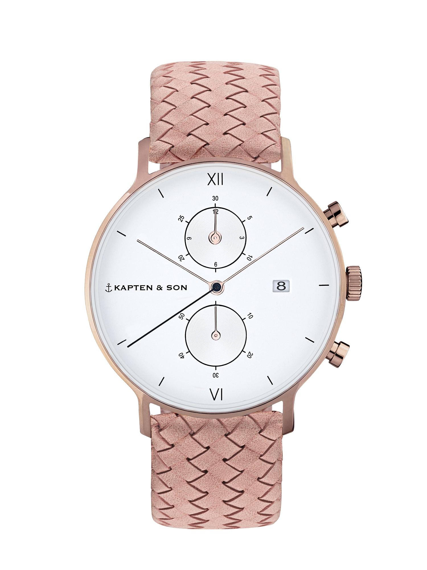 Analogové hodinky Chrono Woven růžová stříbrná Kapten & Son