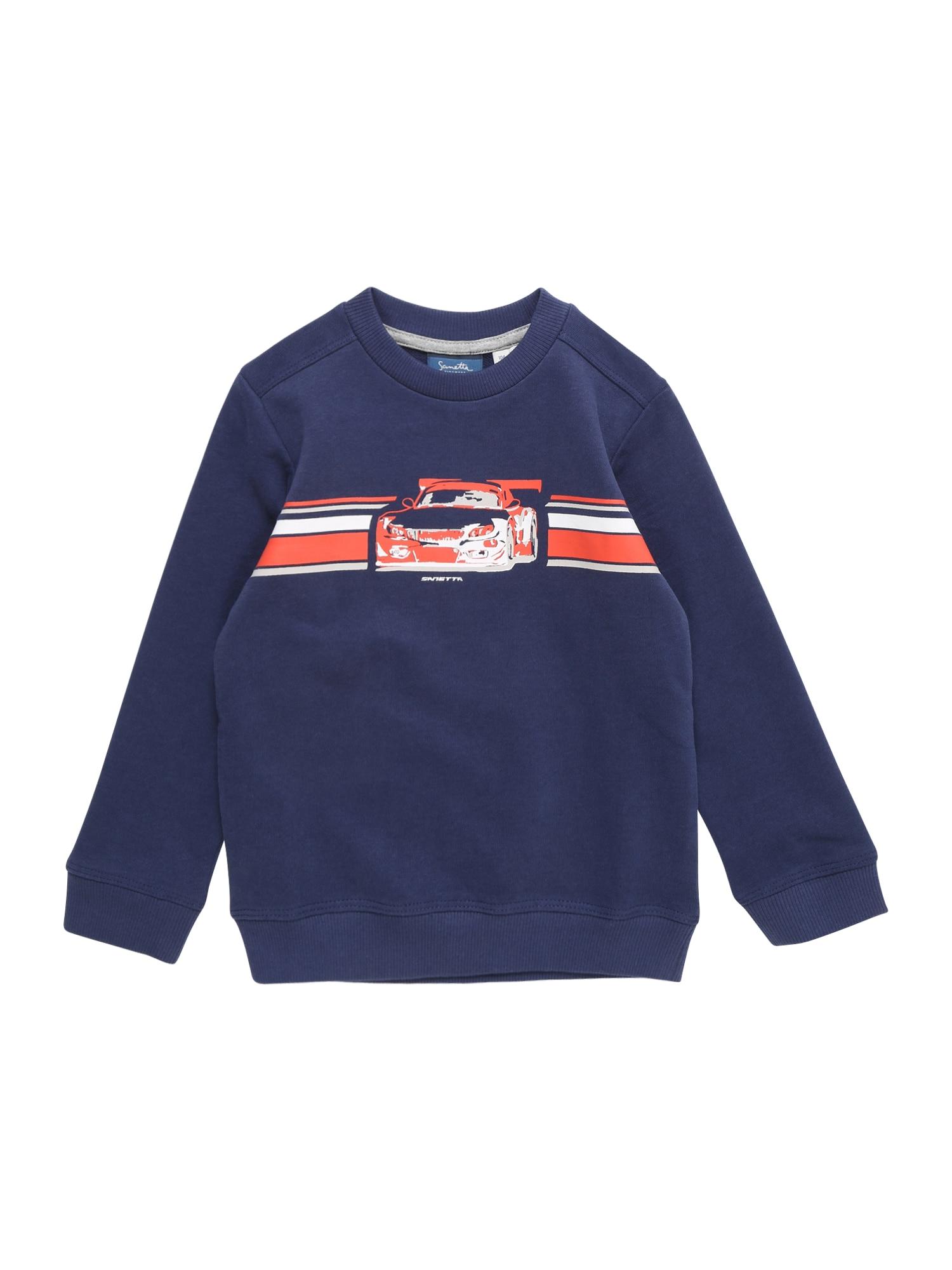 Mikina námořnická modř lososová bílá Sanetta Kidswear