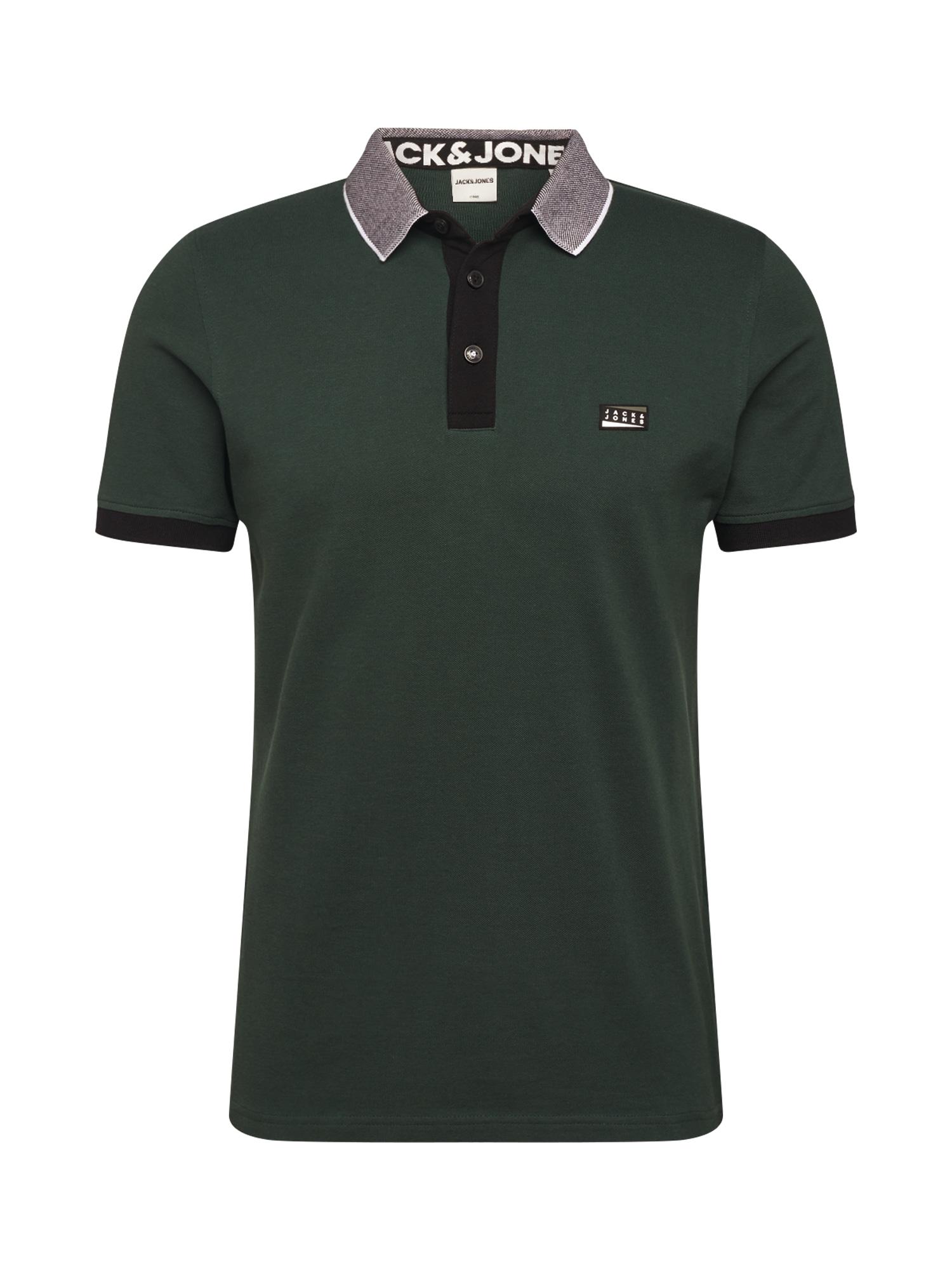 JACK & JONES Tričko 'Charming'  šedá / tmavě zelená