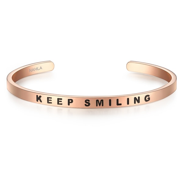 Armbaender für Frauen - Nahla Jewels Armband Bangle mit Aufschrift KEEP SMILING rosegold schwarz  - Onlineshop ABOUT YOU
