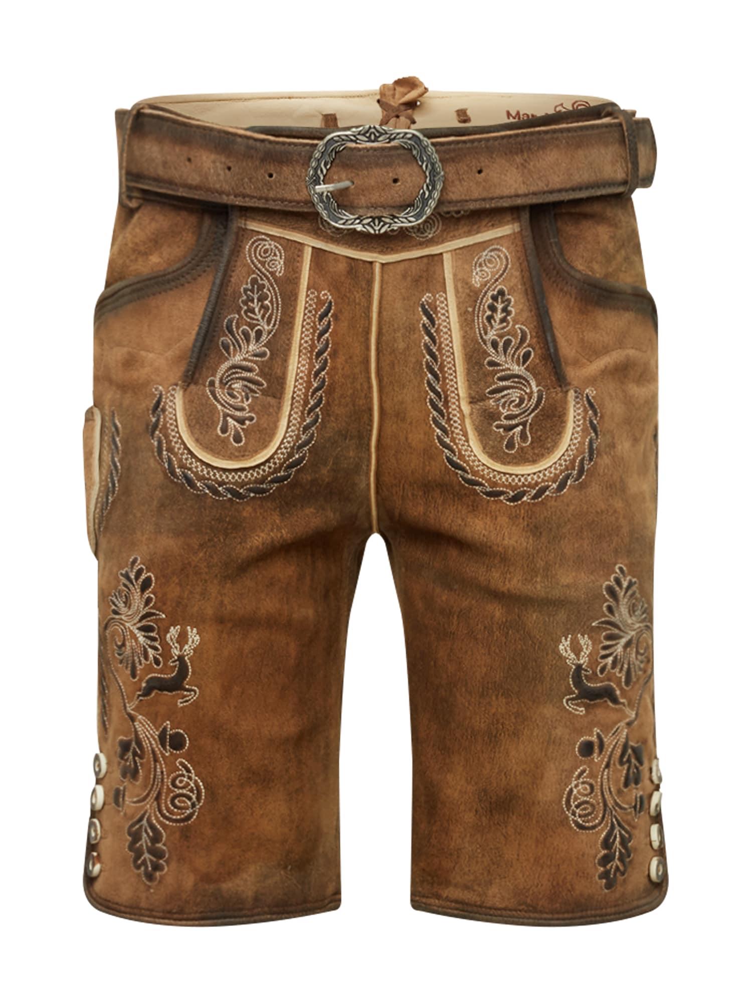 MARJO Kelnės su tradiciniais raštais 'Henry inkl. Gürtel' ruda