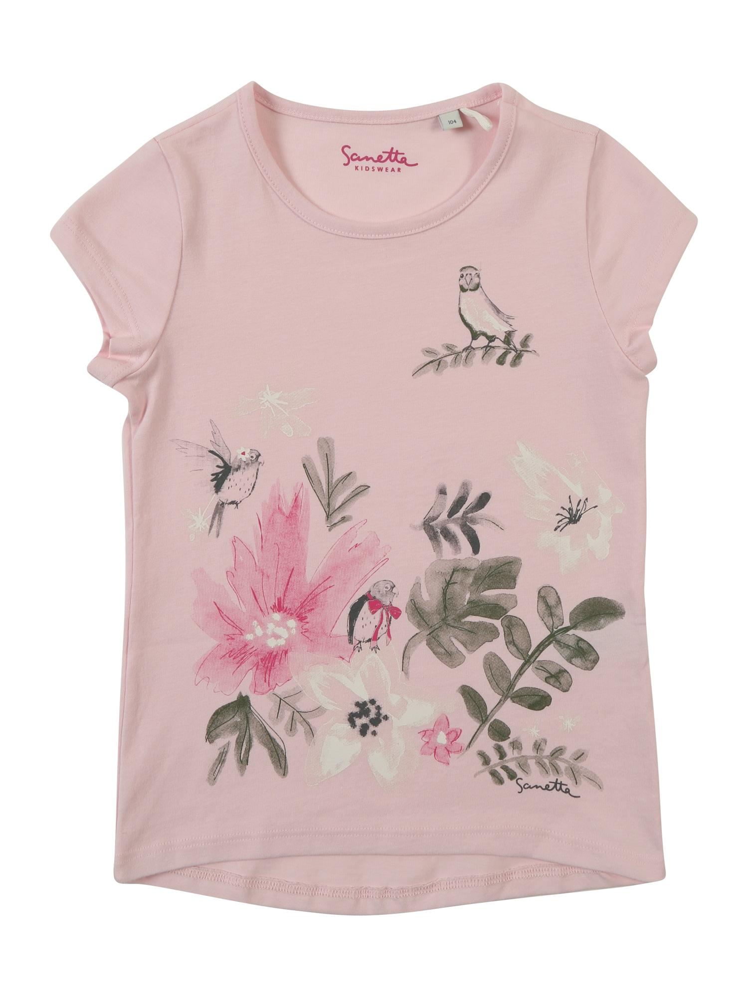 Tričko čedičová šedá jedle růže tmavě růžová Sanetta Kidswear