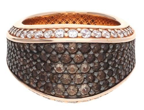 Ringe für Frauen - ESPRIT Fingerring Aura mit Zirkonia Steinbesatz ELRG91823C dunkelbraun rosegold transparent  - Onlineshop ABOUT YOU