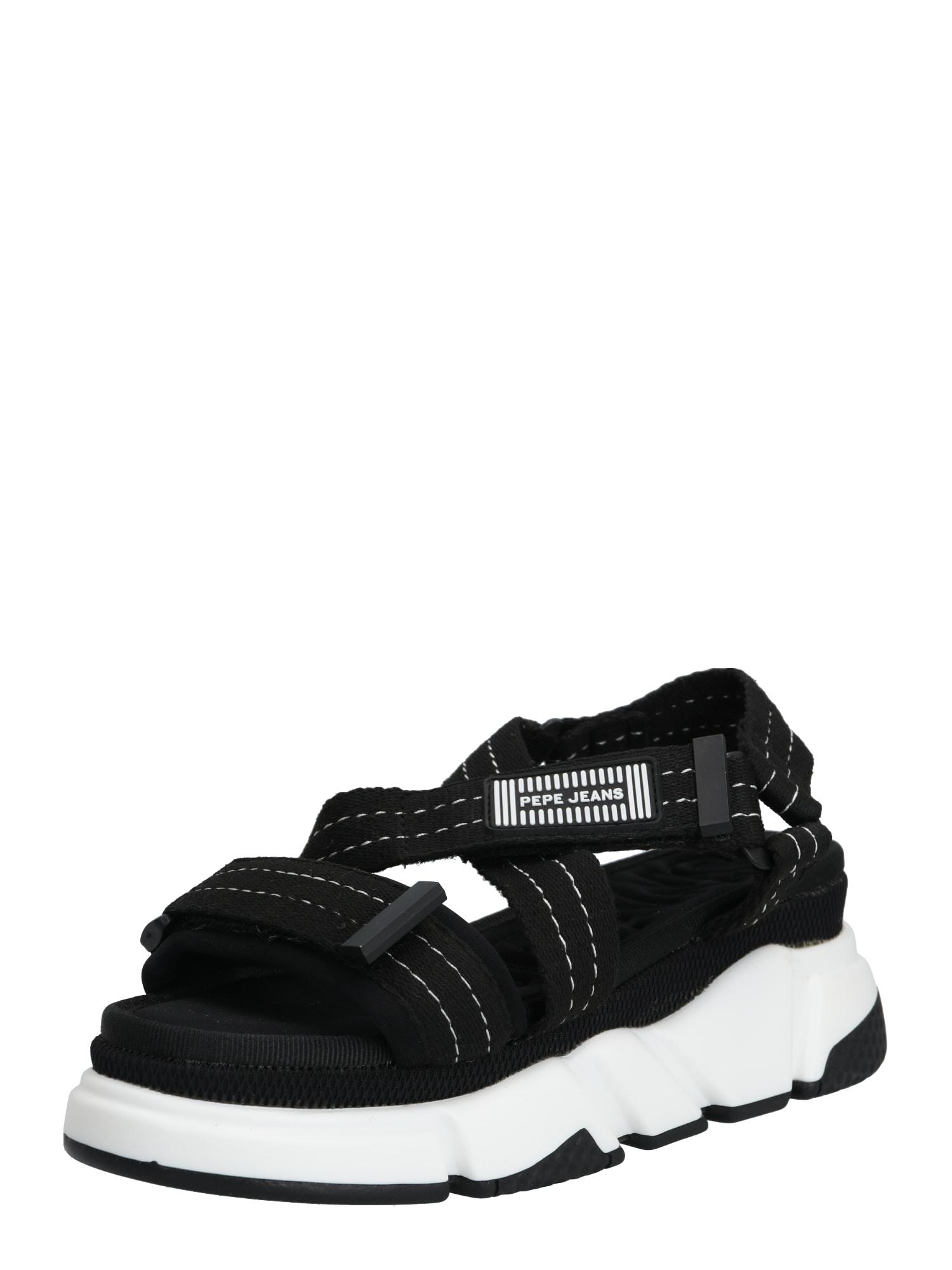Pepe Jeans Trekingové sandále 'FALMER'  čierna / biela