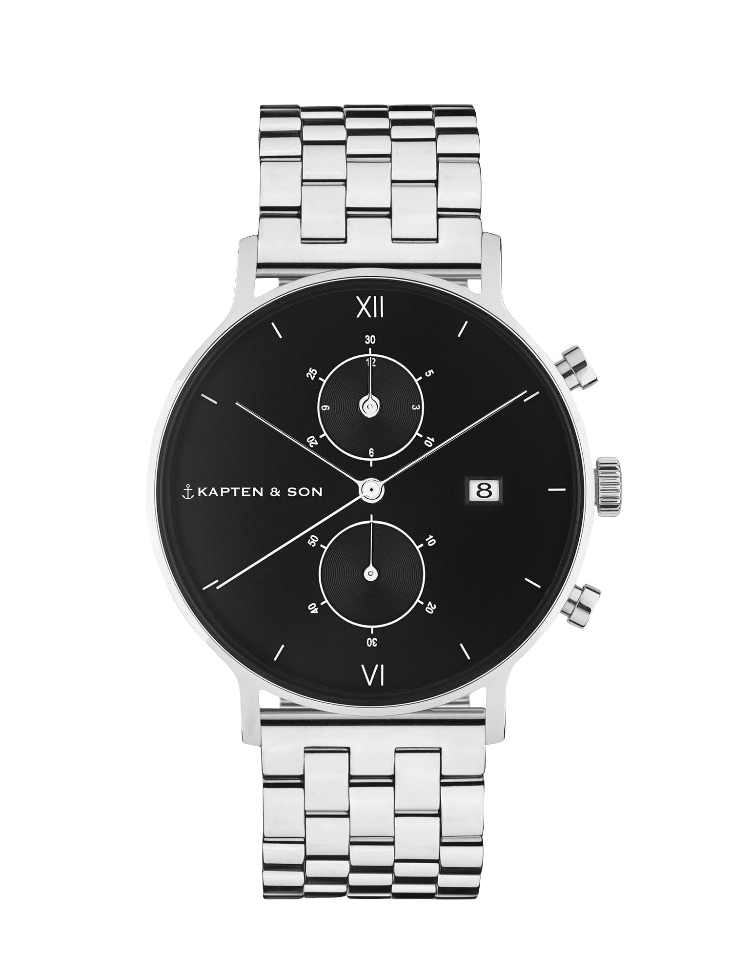Kapten & Son Analoginis (įprastinio dizaino) laikrodis 'Chrono Silver Steel' juoda / sidabras