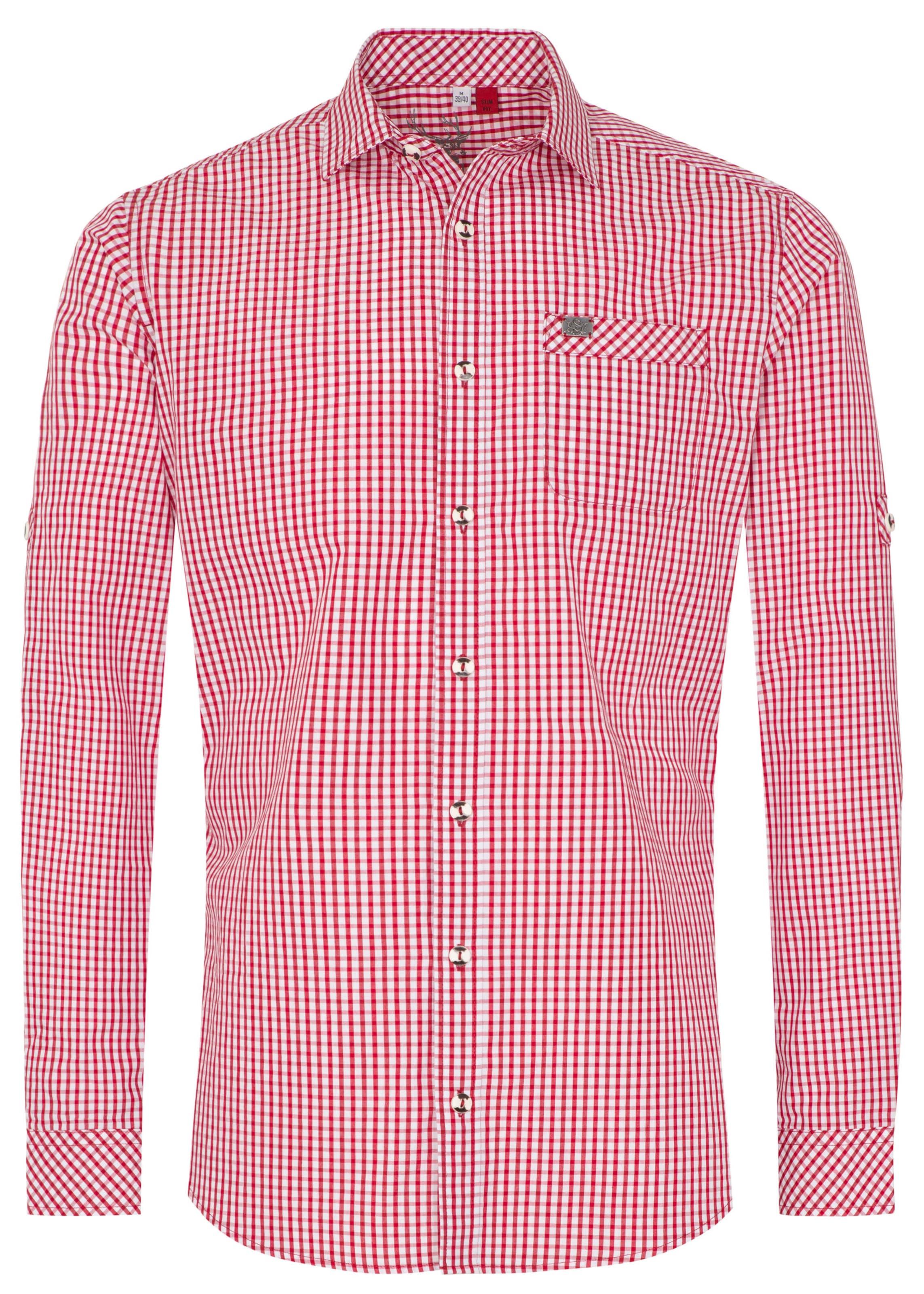 Herren SPIETH & WENSKY Trachtenhemd 'Kanu' rot | 04059829558977