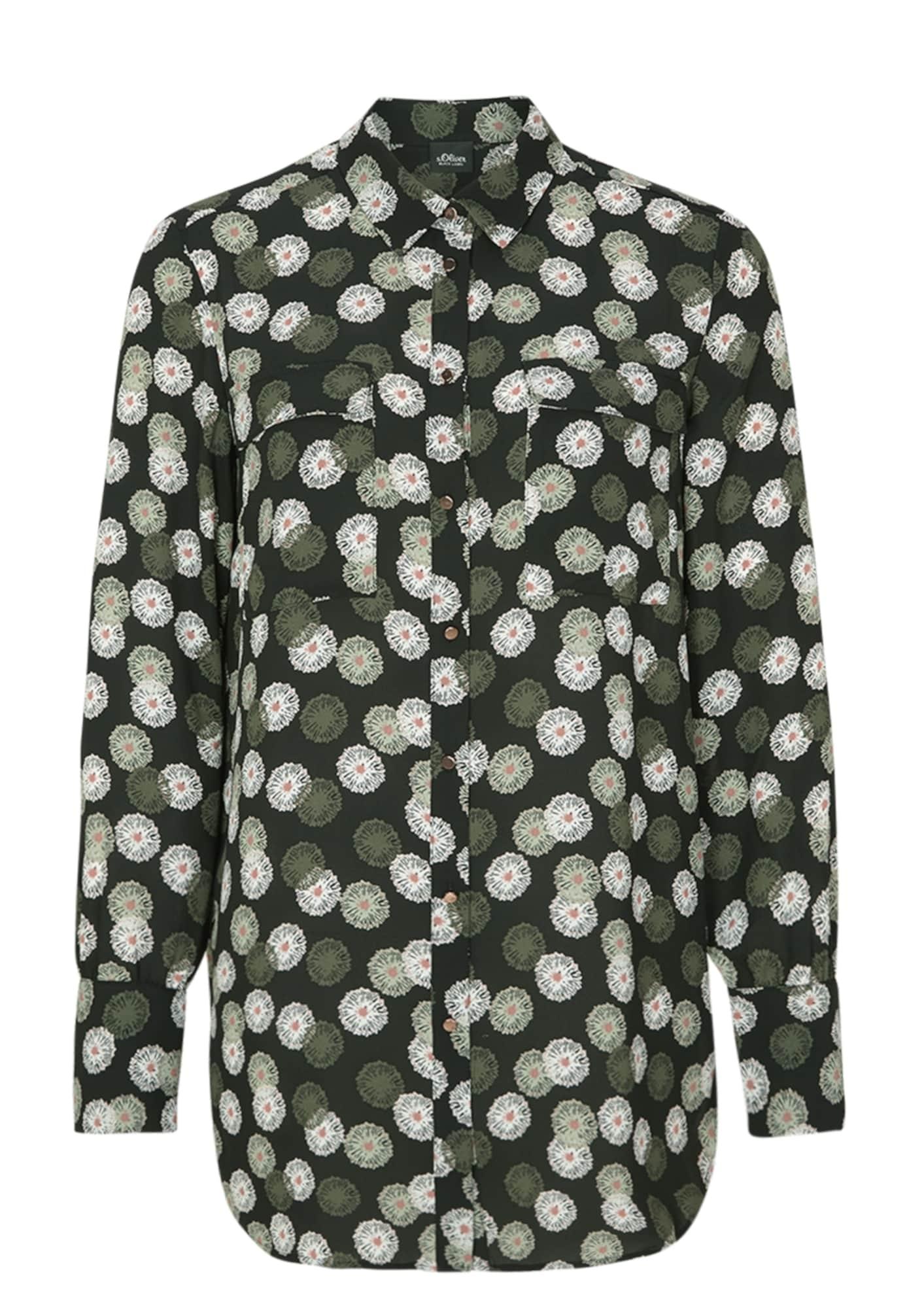 s.Oliver BLACK LABEL Palaidinė balta / šviesiai žalia / tamsiai žalia / rožinė